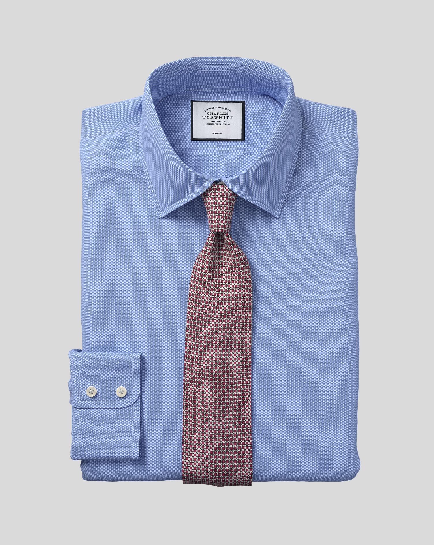 Cotton Classic Fit Non-Iron Blue Royal Panama Shirt
