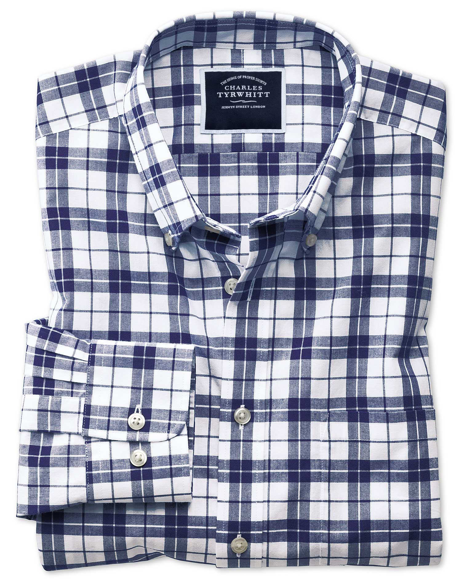 Slim Fit Poplin Navy and White Cotton Shirt Single Cuff Size Large by Charles Tyrwhitt