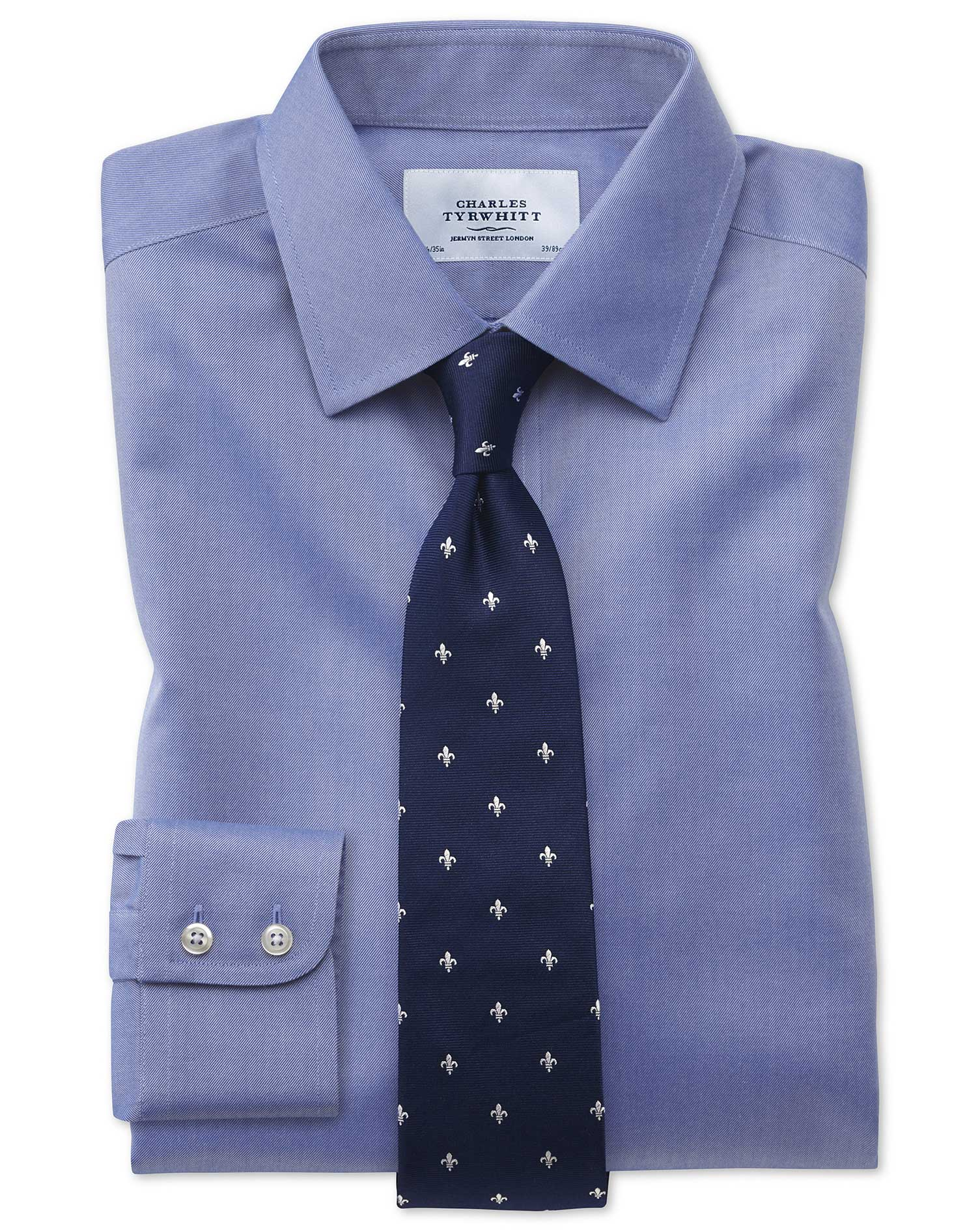 Extra Slim Fit Non Iron Twill Mid Blue Shirt Charles