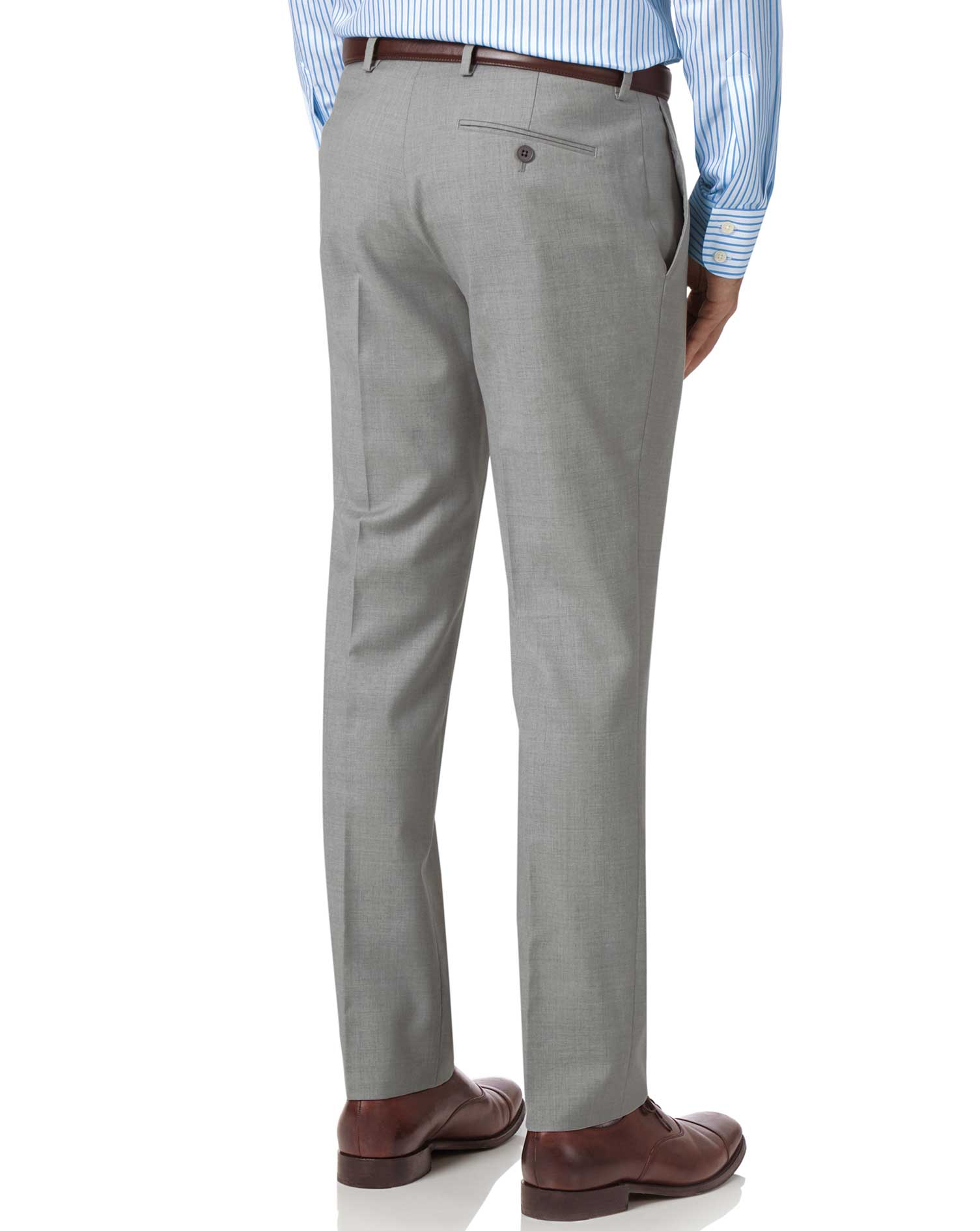 Light grey slim fit twill business suit pants