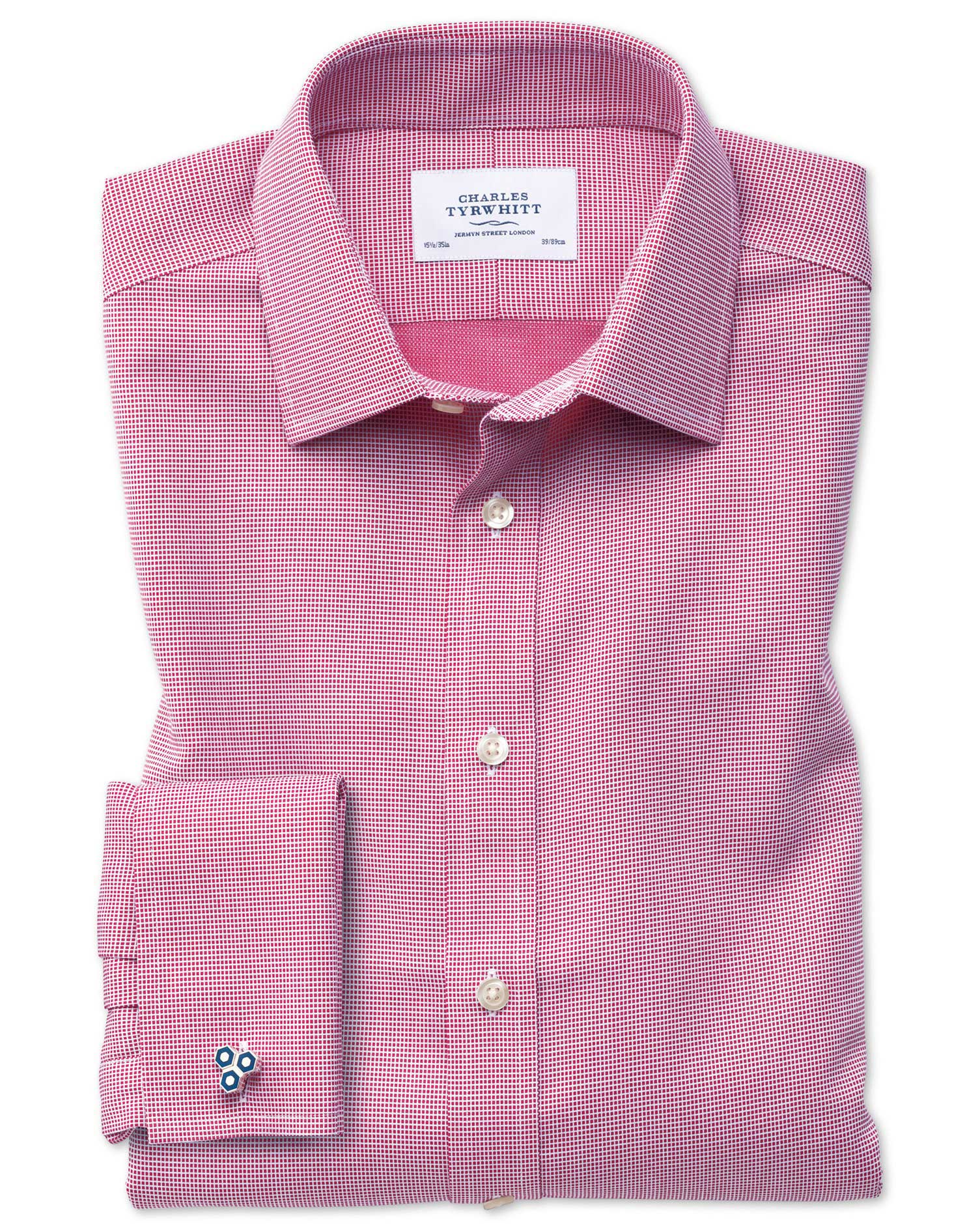 Classic Fit Non-Iron Square Weave Magenta Cotton Formal Shirt Double Cuff Size 16/33 by Charles Tyrw