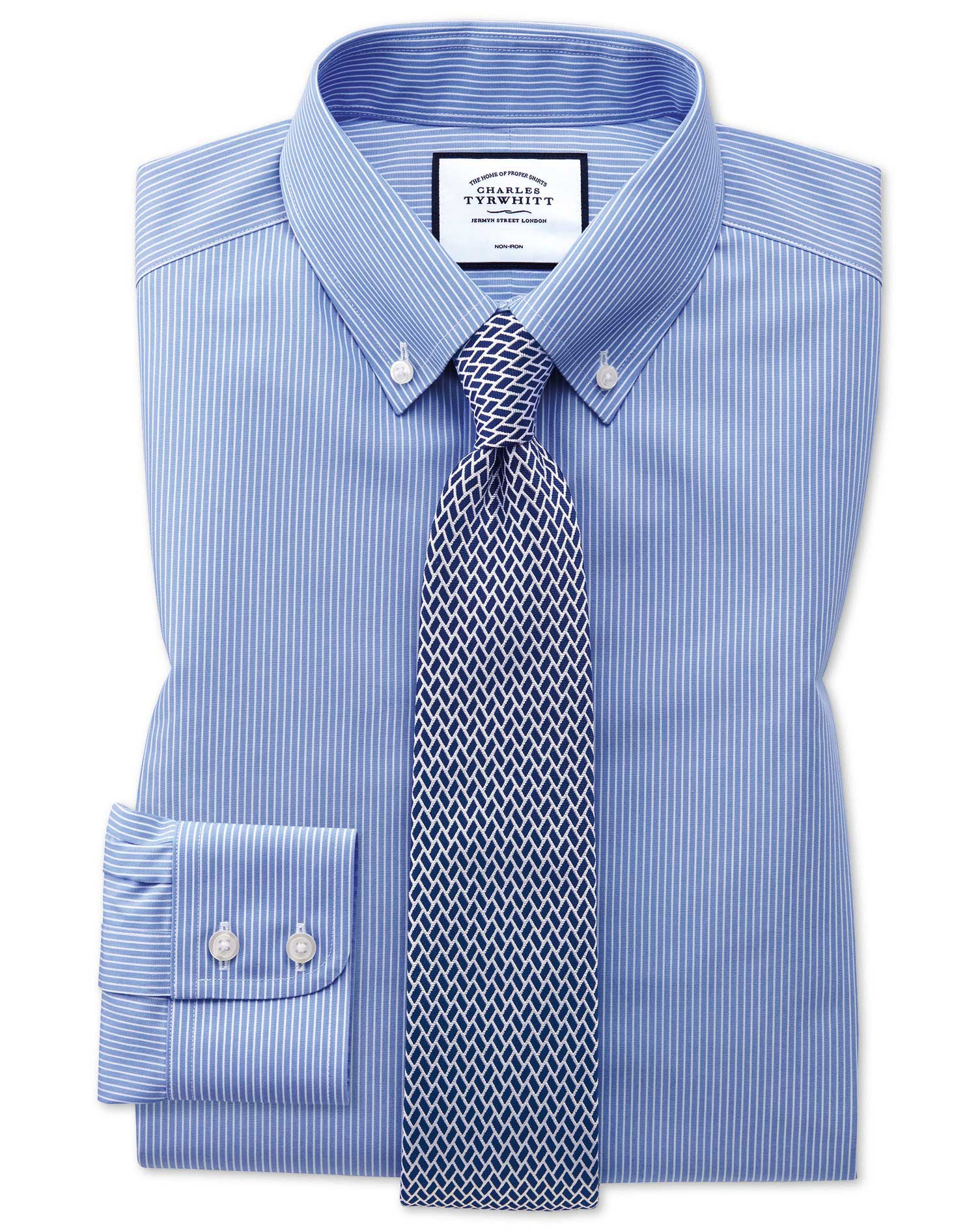 Classic Fit Button-Down Non-Iron Blue and White Stripe Cotton Formal Shirt Single Cuff Size 15/34 by