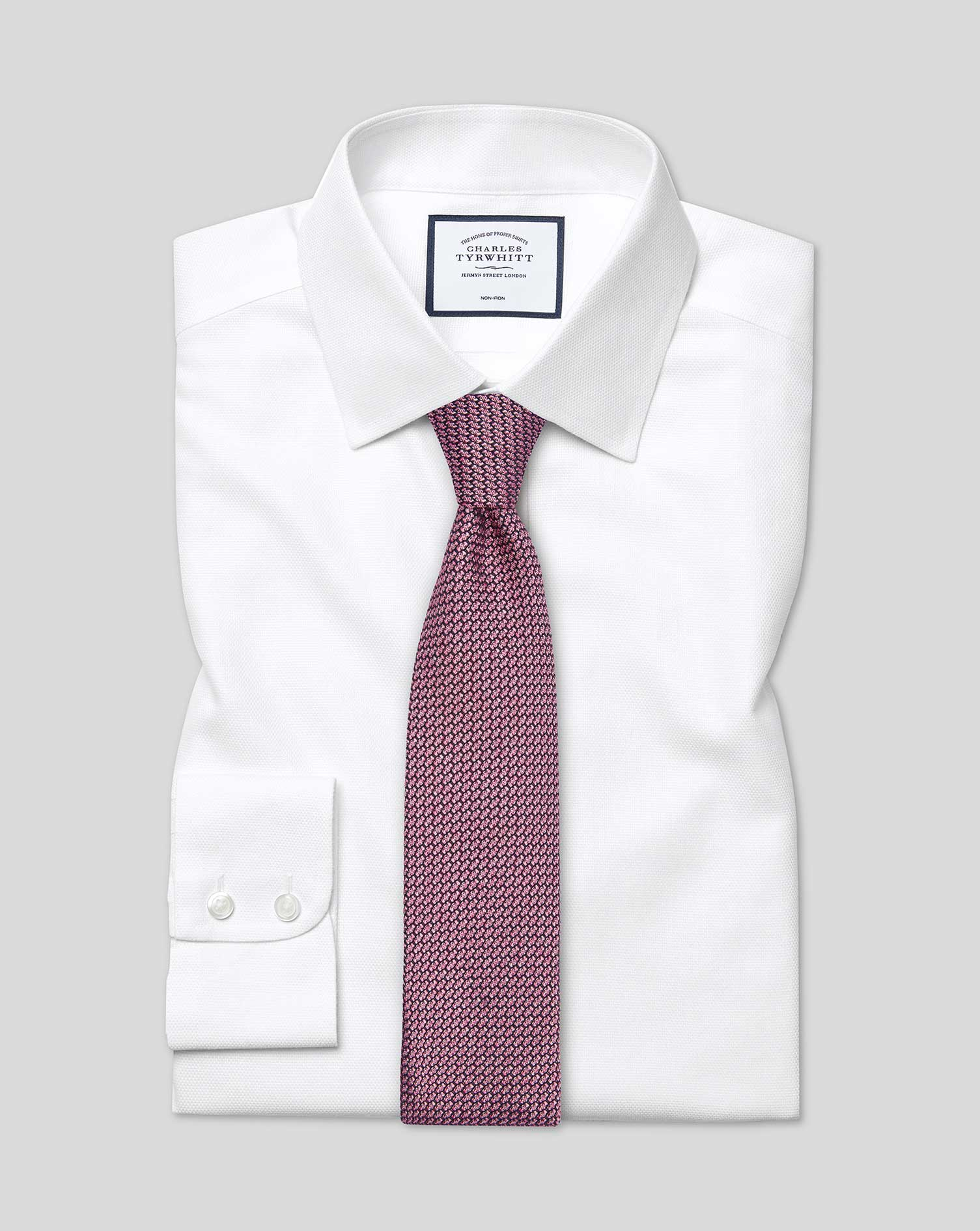 Classic Fit Non-Iron Dash Weave White Cotton Formal Shirt Double Cuff Size 17/34 by Charles Tyrwhitt
