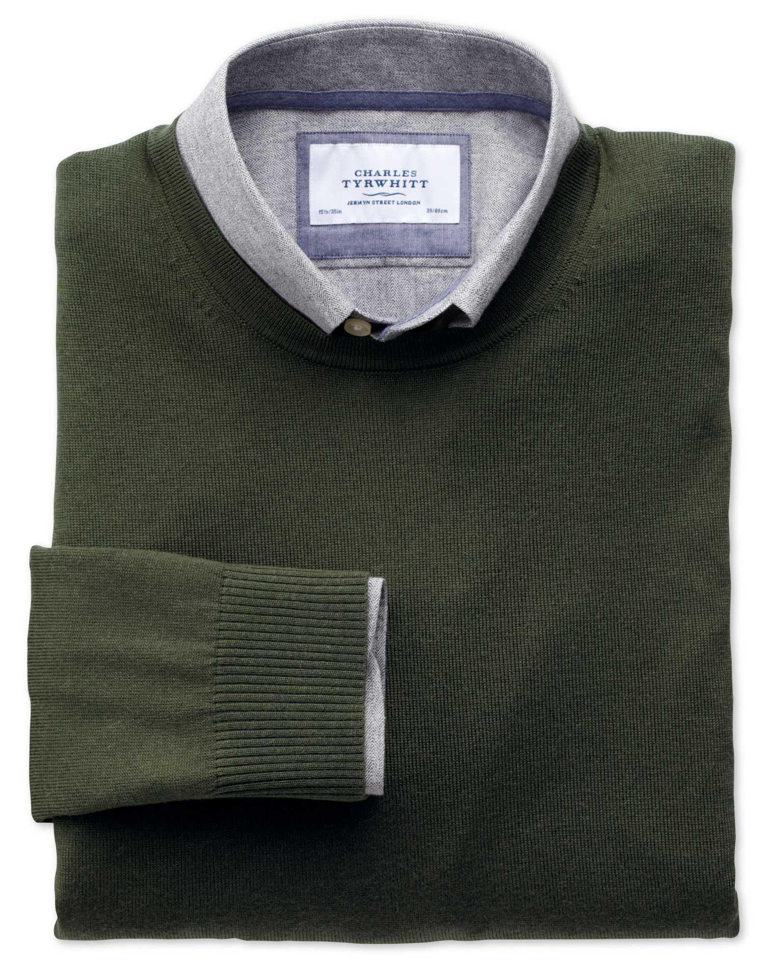 Dark Green Merino Wool Crew Neck Jumper Size XL by Charles Tyrwhitt