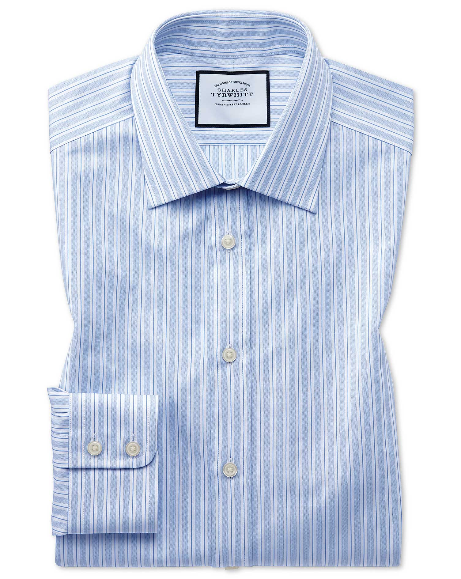 Slim Fit Egyptian Cotton Poplin Sky Blue Stripe Formal Shirt Single Cuff Size 16/35 by Charles Tyrwh
