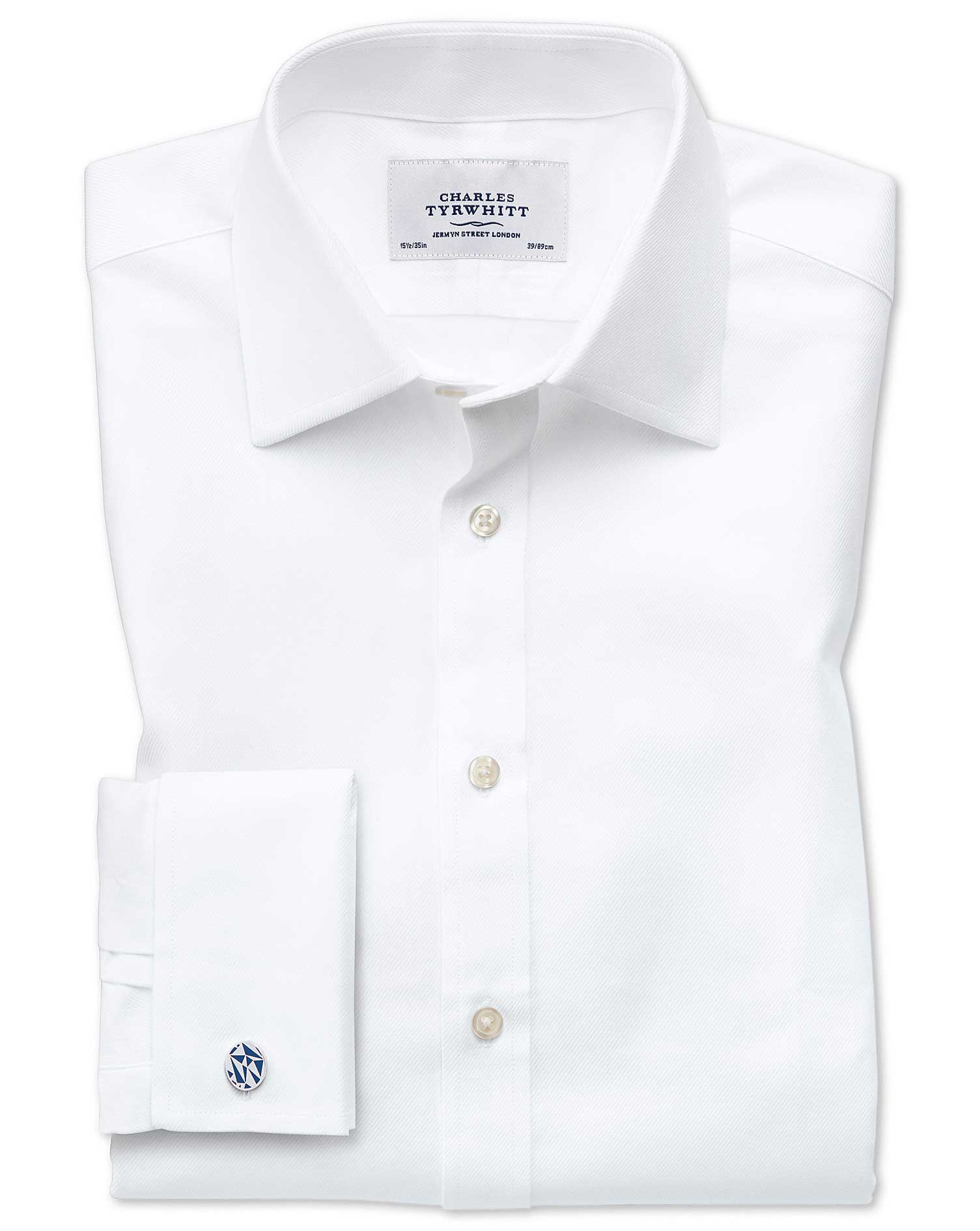 Classic Fit Egyptian Cotton Cavalry Twill White Formal Shirt Double Cuff Size 16/38 by Charles Tyrwh