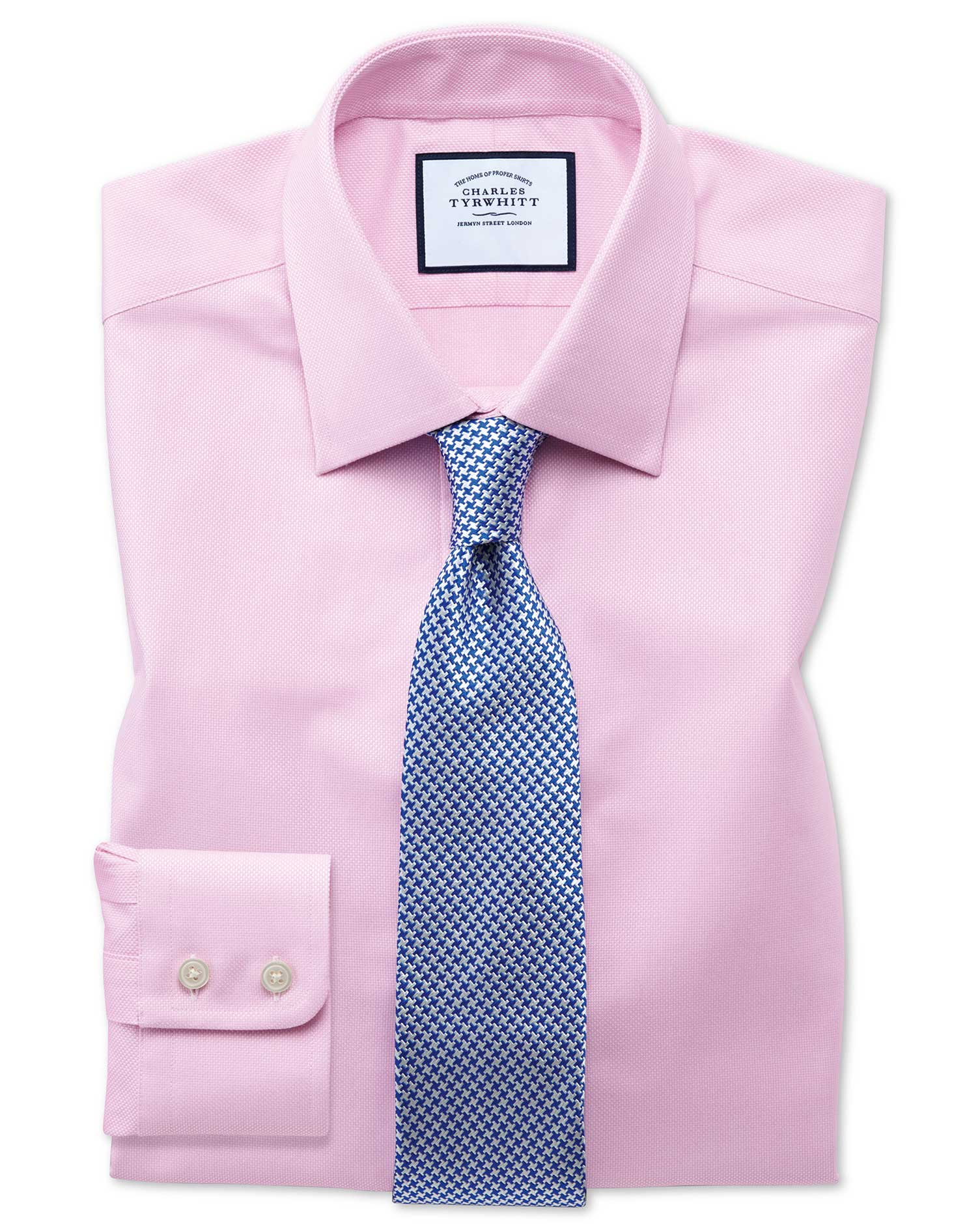 Slim Fit Egyptian Cotton Royal Oxford Pink Formal Shirt Double Cuff Size 16.5/33 by Charles Tyrwhitt