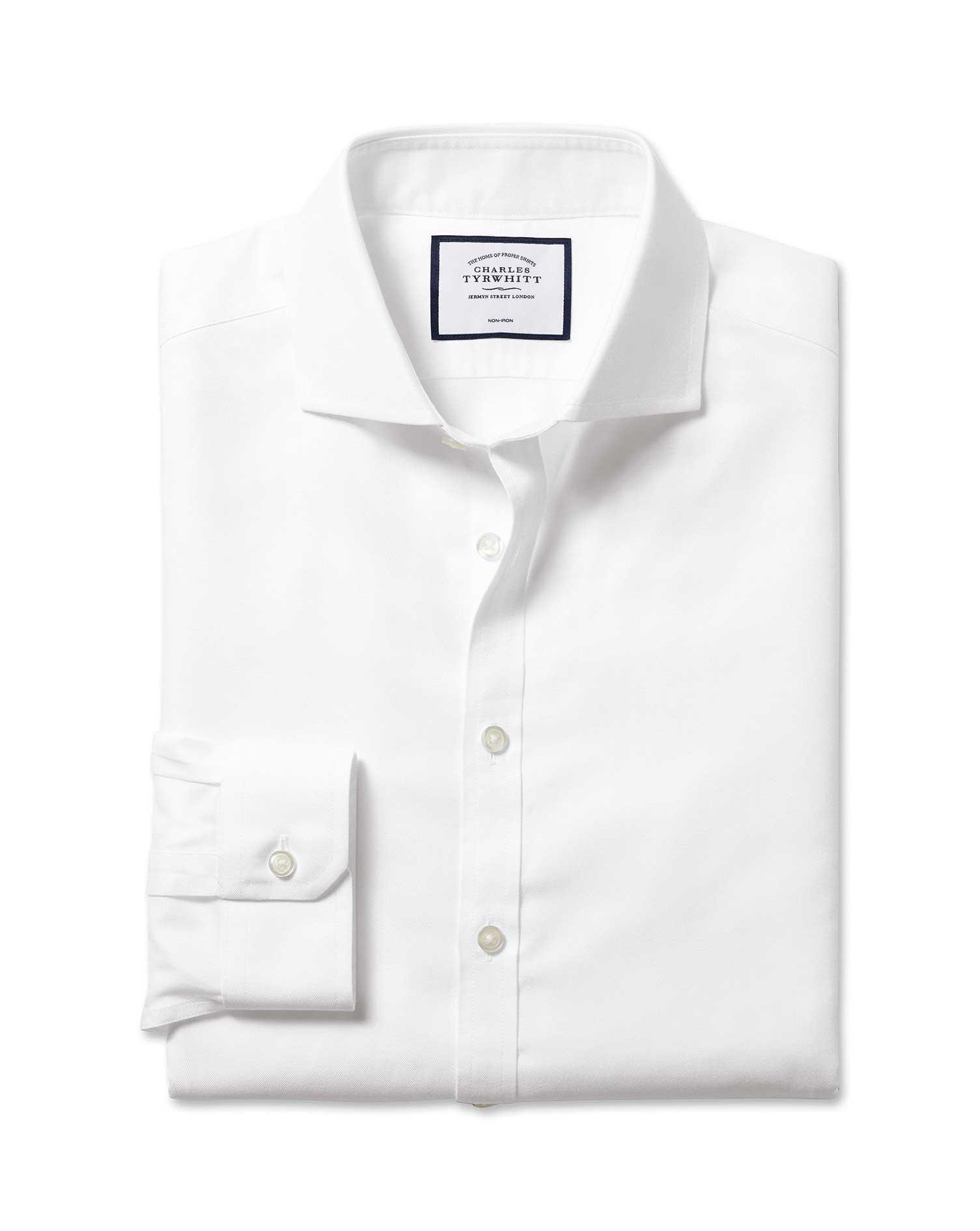 Cotton Super Slim Fit White Non-Iron Twill Cutaway Shirt