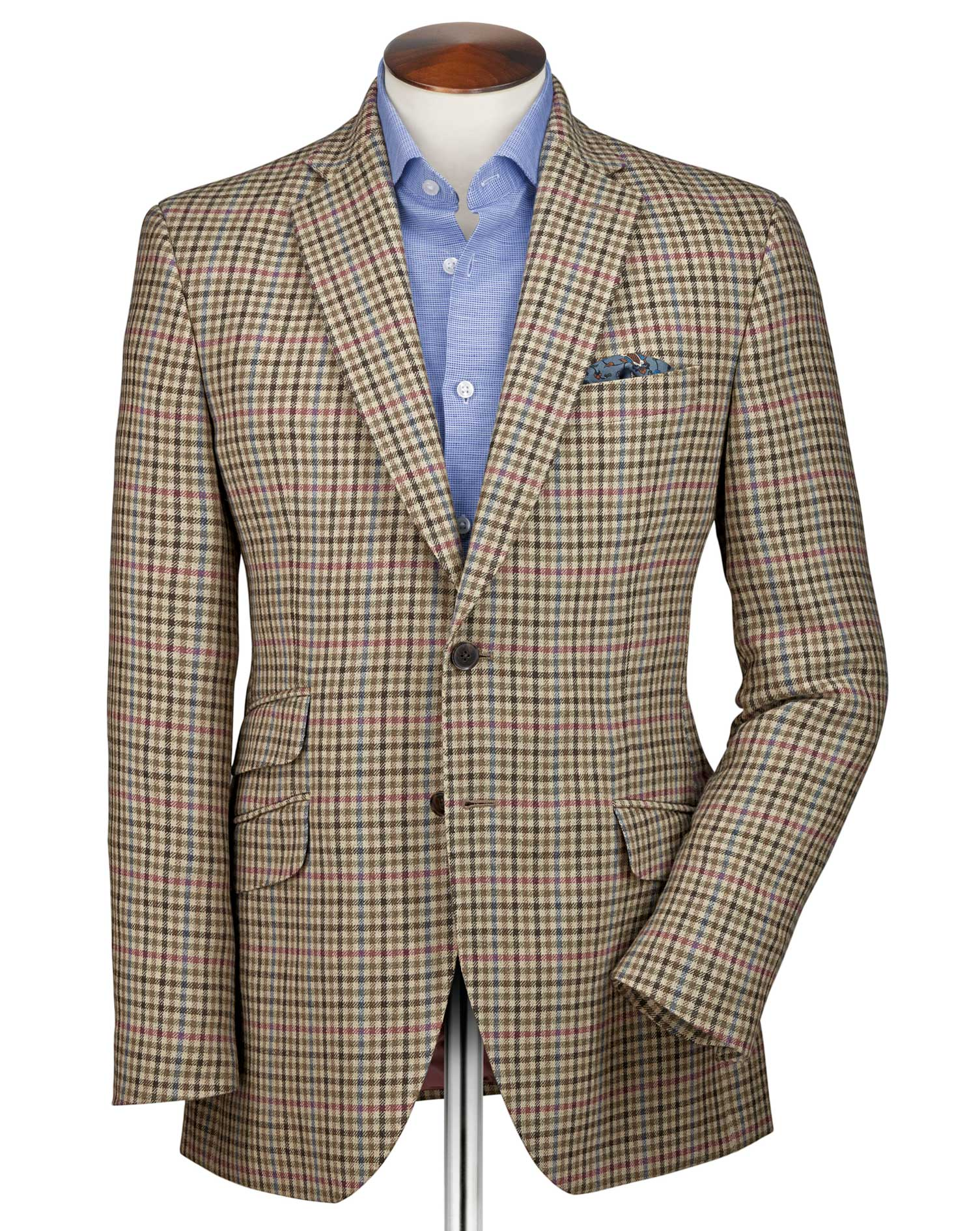 Slim Fit Beige Checkered Luxury Border Tweed Wool Jacket Size 38 Long by Charles Tyrwhitt