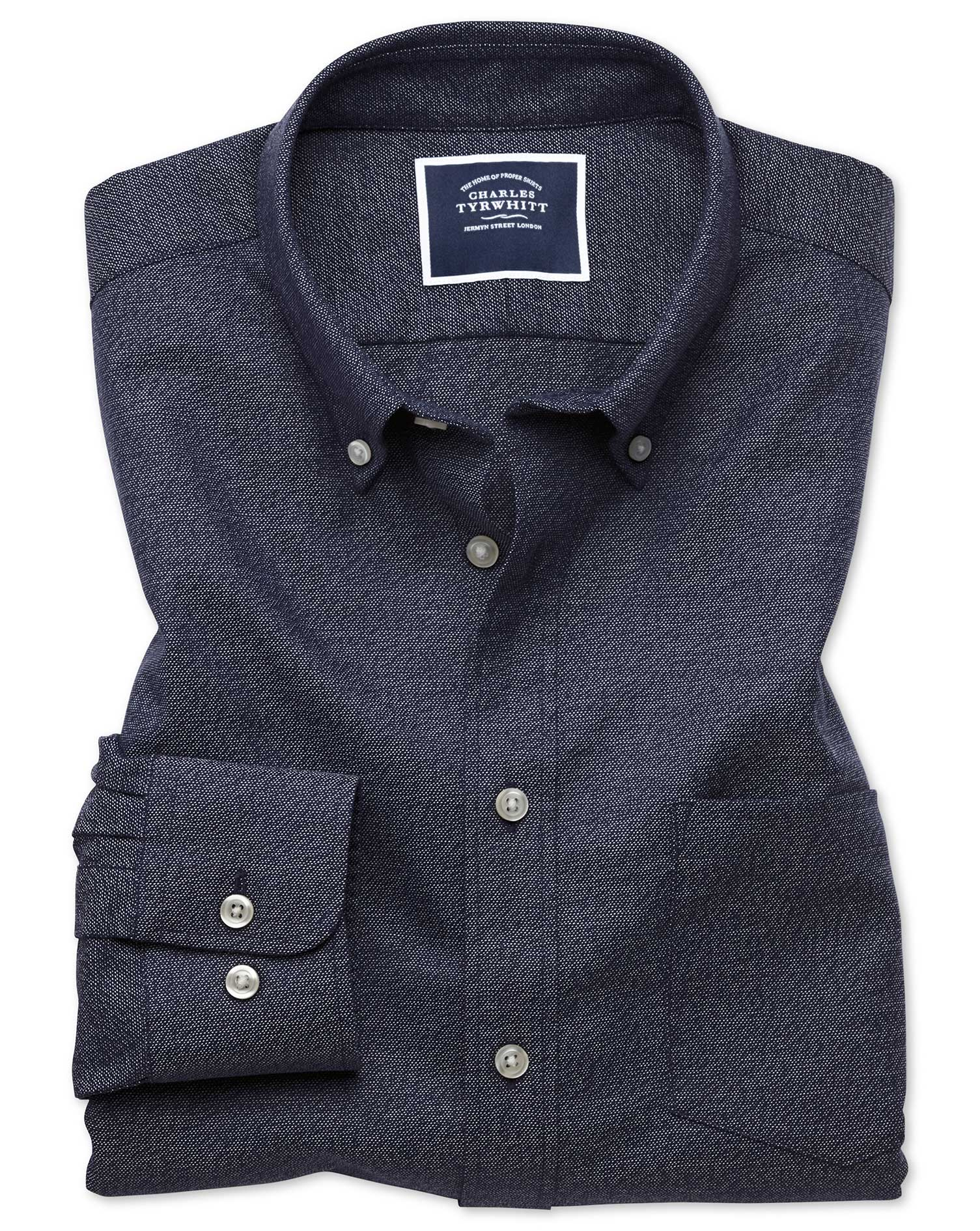 Classic Fit Dark Navy Plain Soft Washed Non-Iron Twill Cotton Shirt Single Cuff Size Medium by Charl