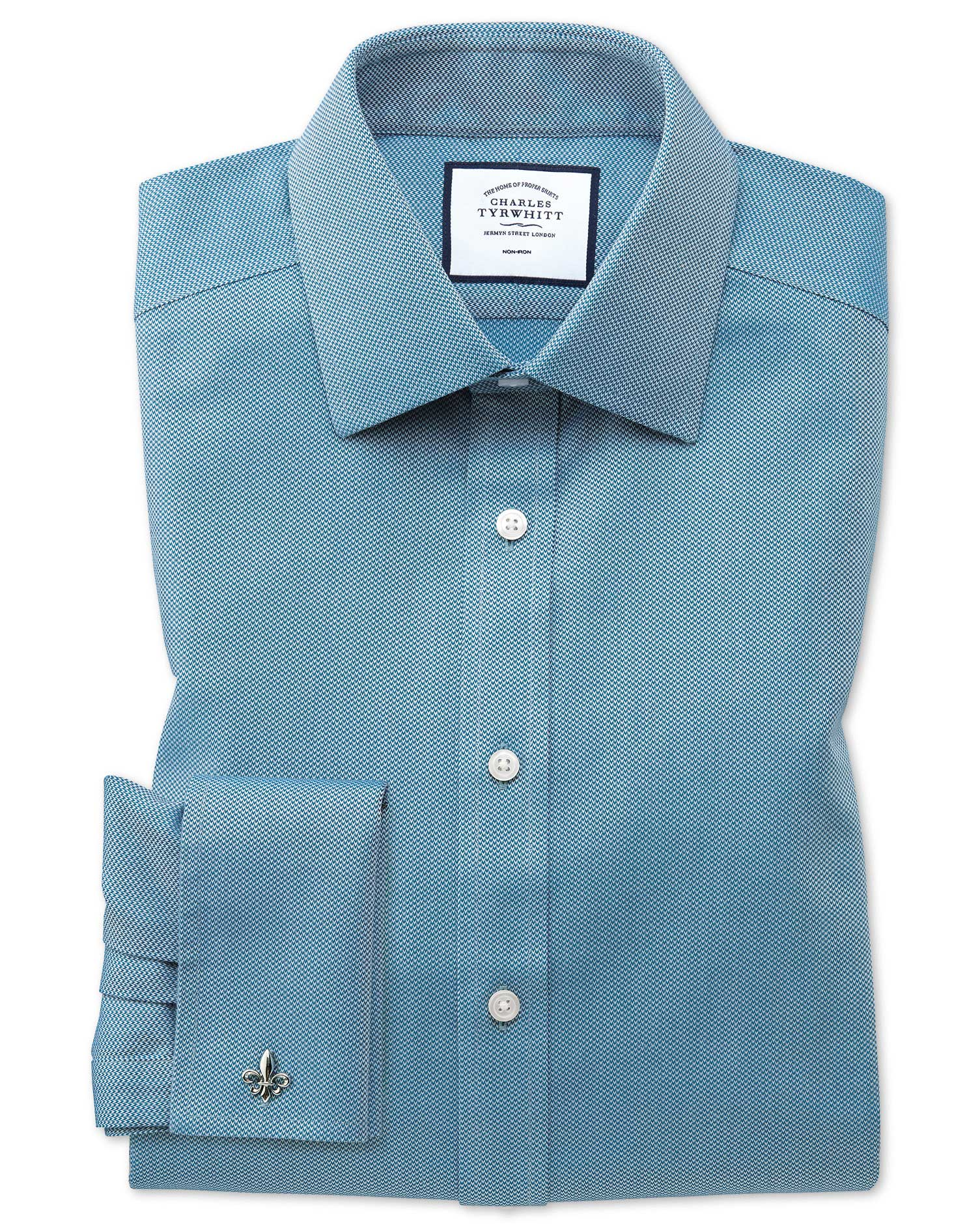 Classic Fit Non-Iron Teal Arrow Weave Cotton Formal Shirt Single Cuff Size 16.5/33 by Charles Tyrwhi