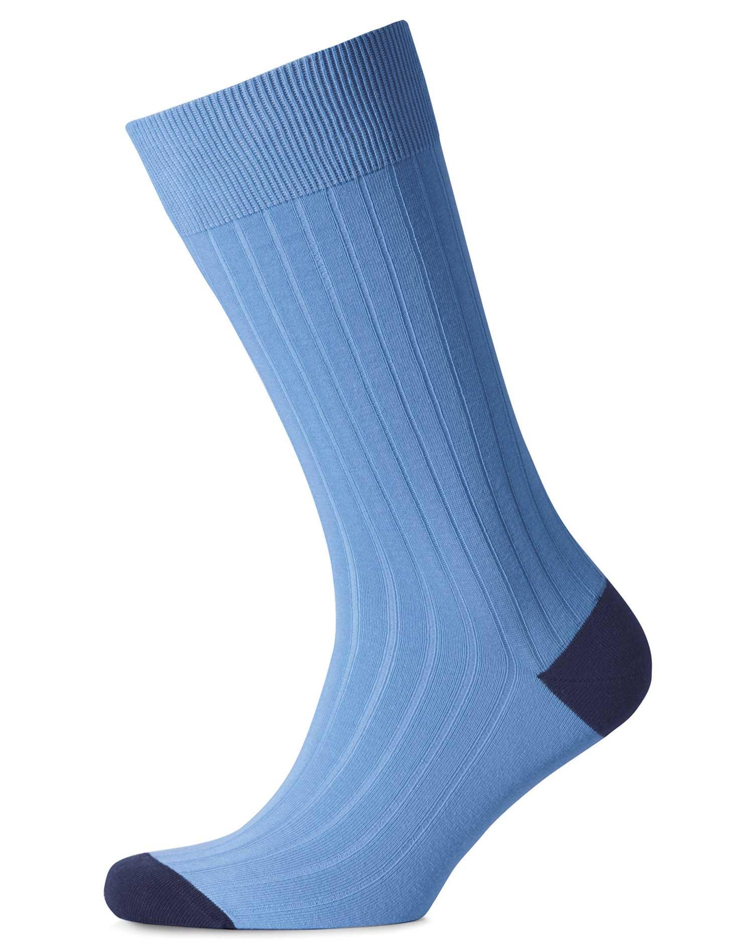 Sky Blue Cotton Rib Socks Size Large by Charles Tyrwhitt