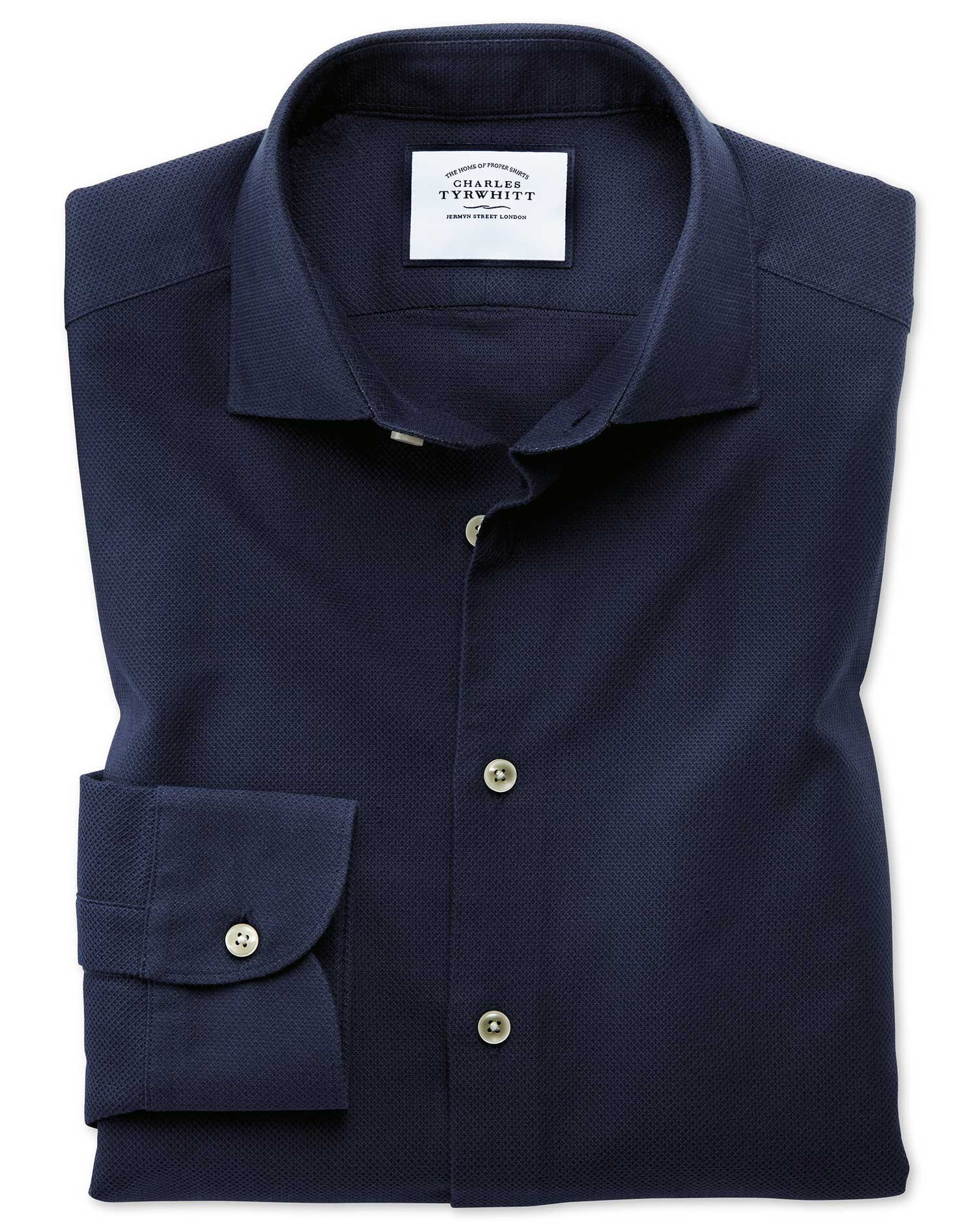 Slim Fit Business Casual Leno Texture Navy Cotton Formal Shirt Single Cuff Size 17/37 by Charles Tyr
