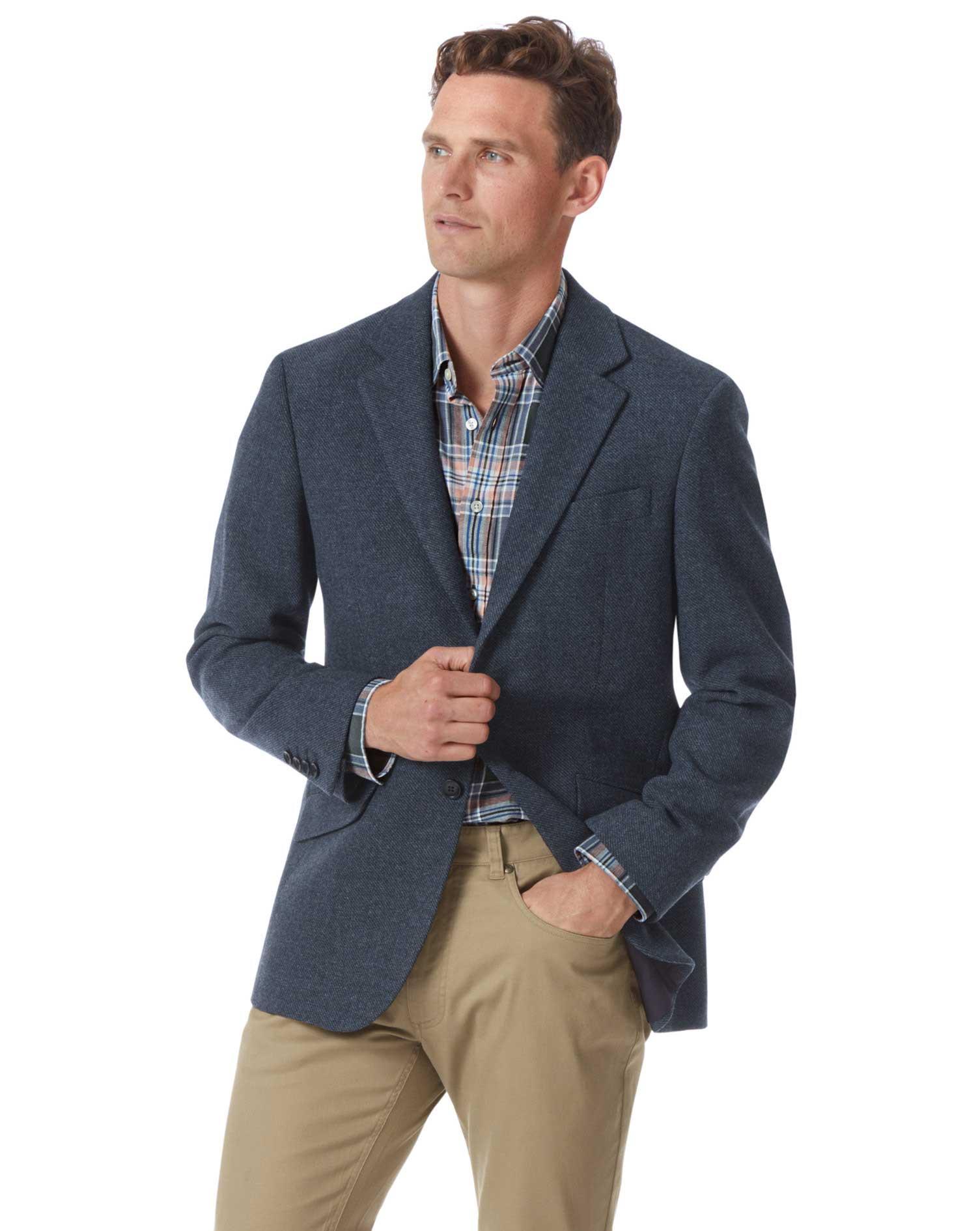 Classic Fit Indigo Blue Wool Jacket Size 38 Regular by Charles Tyrwhitt