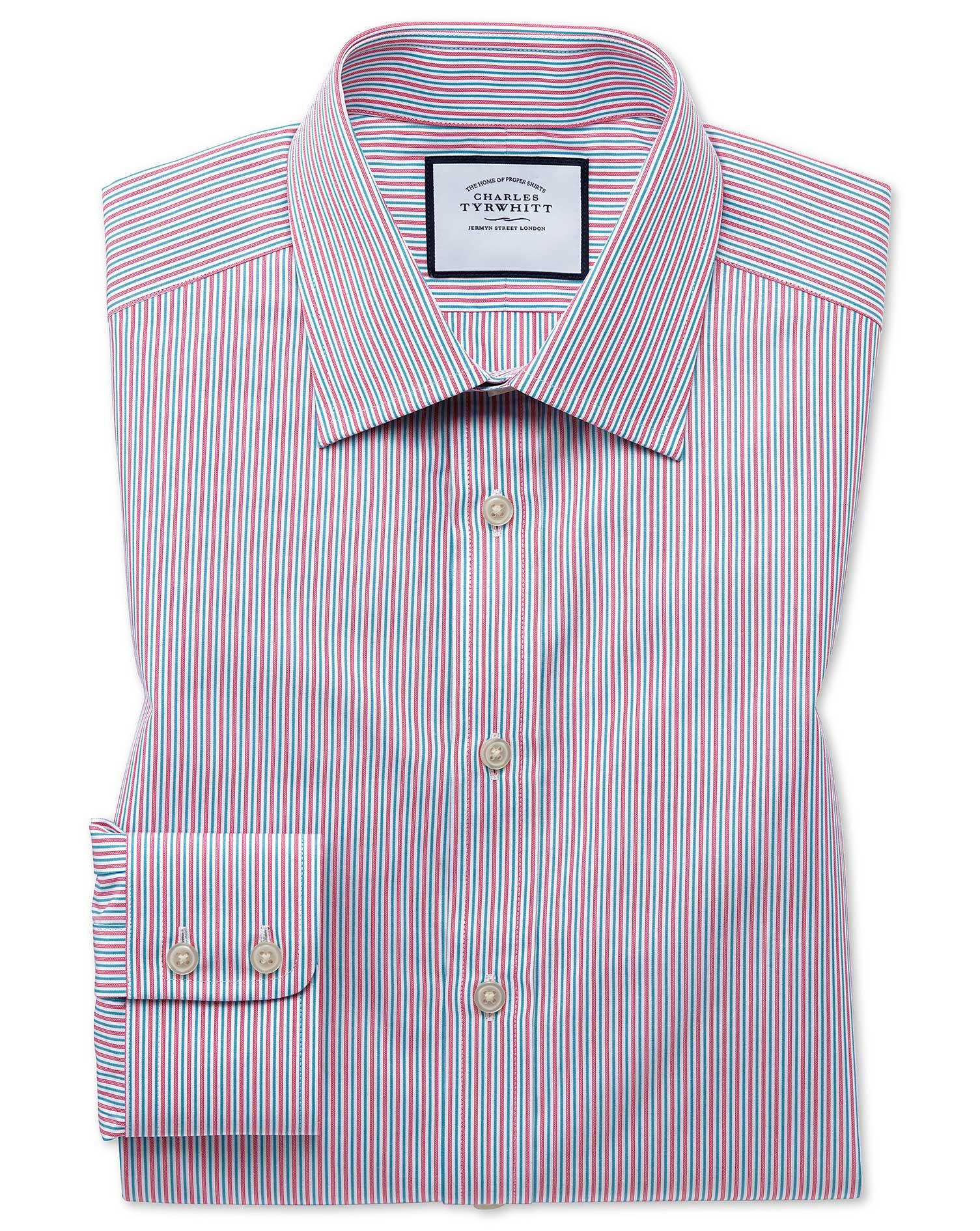 Extra Slim Fit Egyptian Cotton Poplin Multi Pink Stripe Formal Shirt Single Cuff Size 15/33 by Charl