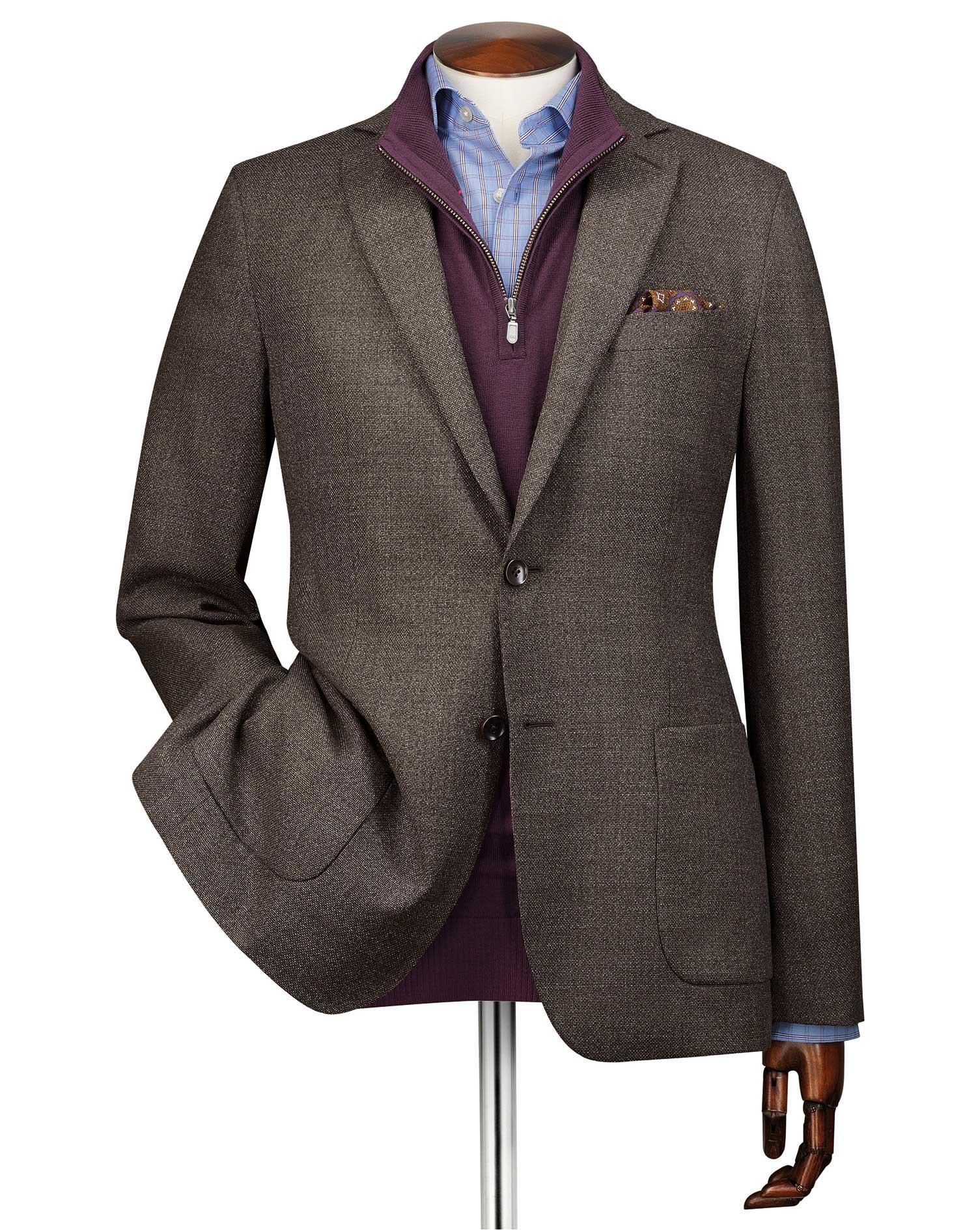 Slim Fit Mocha Italian Wool Blazer Size 44 Regular by Charles Tyrwhitt