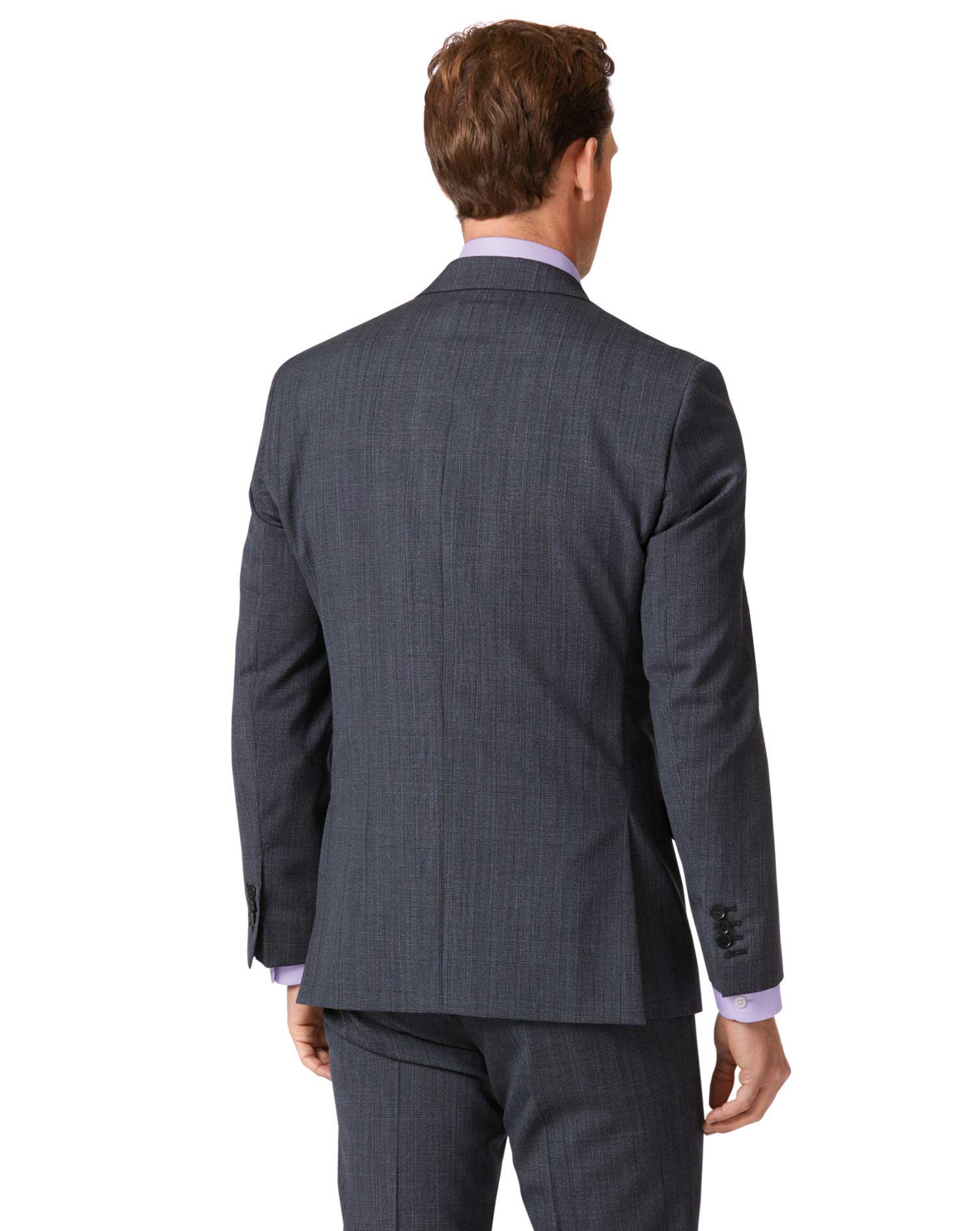 Airforce blue check slim fit twist business suit jacket