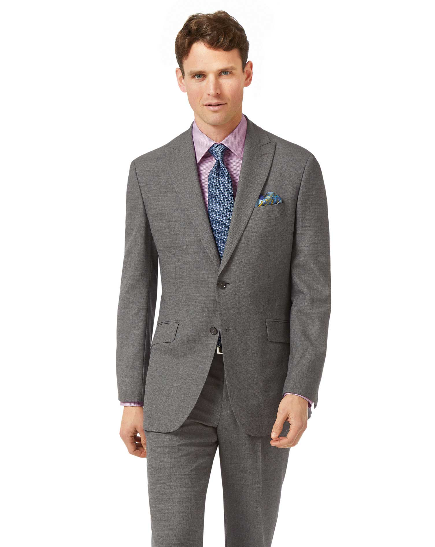 Grey classic fit jaspe business suit jacket