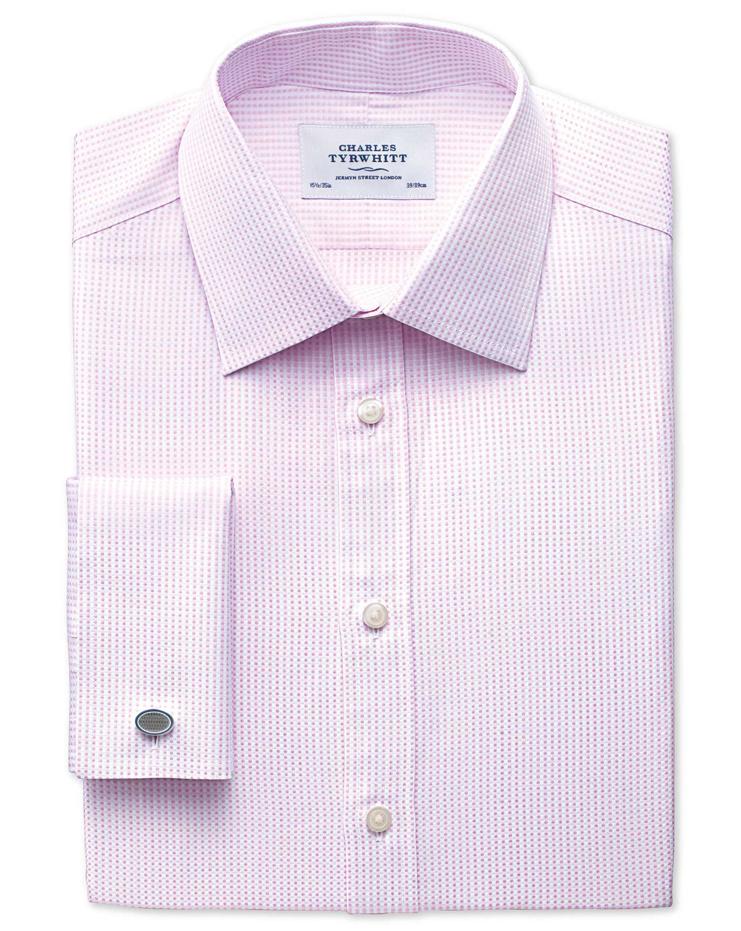 Classic Fit Pima Cotton Double-Faced Light Pink Formal Shirt Double Cuff Size 15/35 by Charles Tyrwh