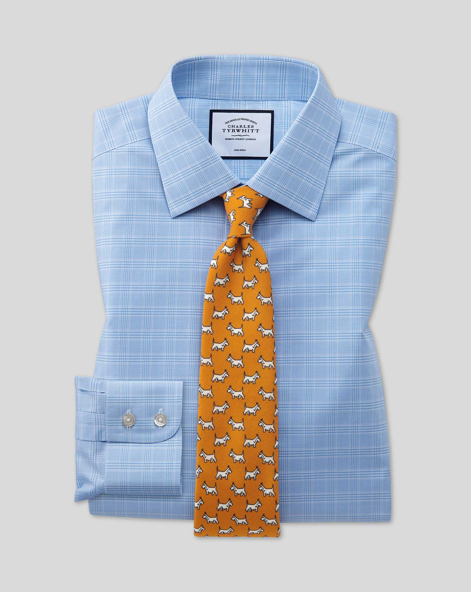 Cotton Extra Slim Fit Non-Iron Sky Blue Prince Of Wales Check Shirt