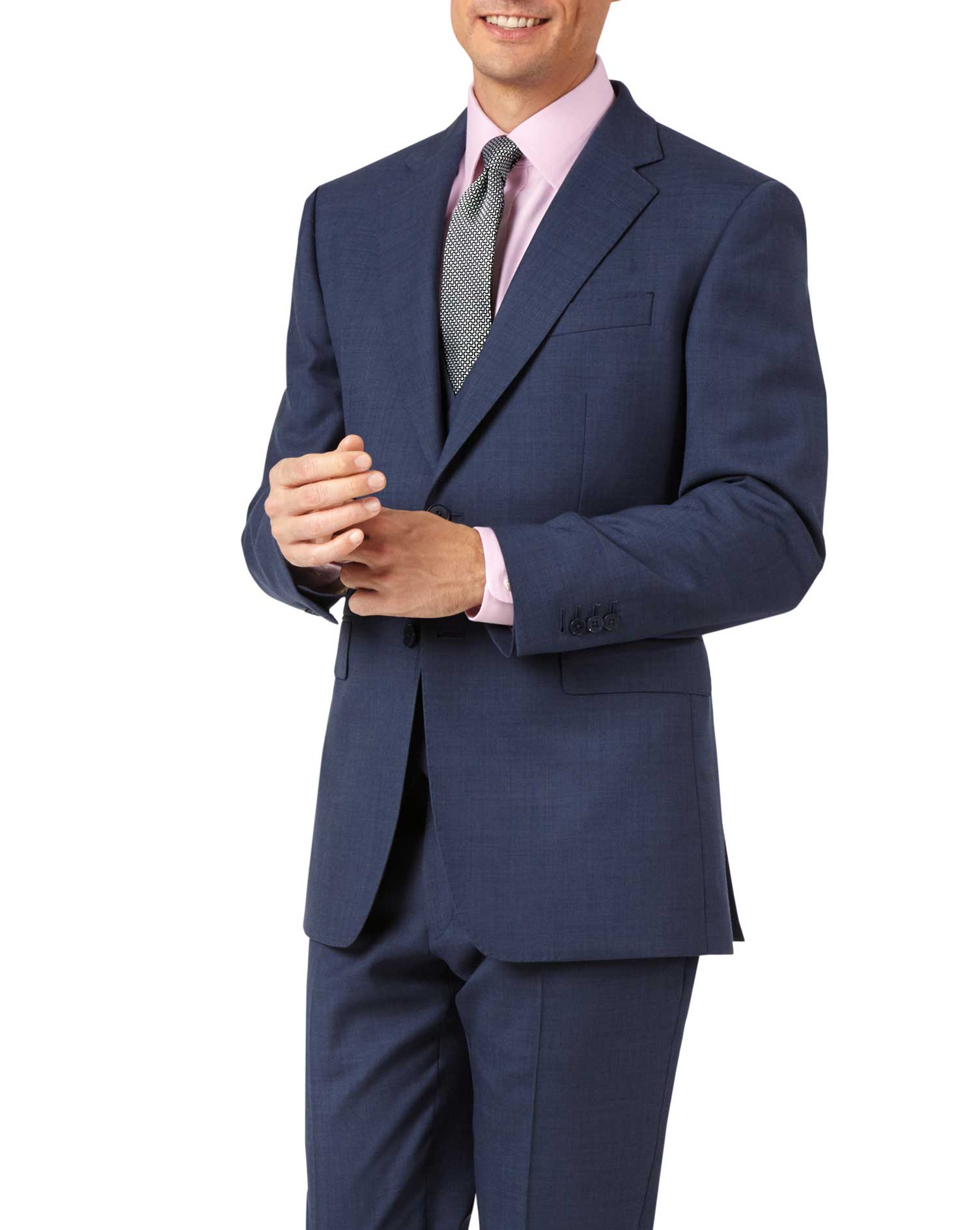 Image of Charles Tyrwhitt Airforce Blue Slim Fit Sharkskin Travel Suit Wool Jacket Size 36 Short by Charles Tyrwhitt