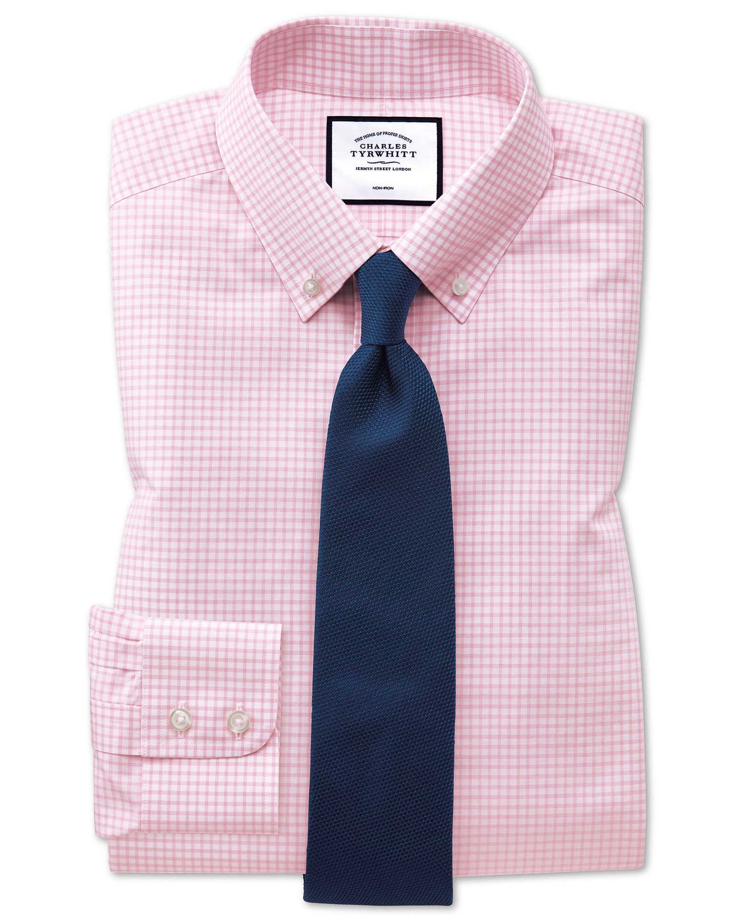 Classic Fit Non-Iron Pink Windowpane Check Cotton Formal Shirt Single Cuff Size 18/37 by Charles Tyr