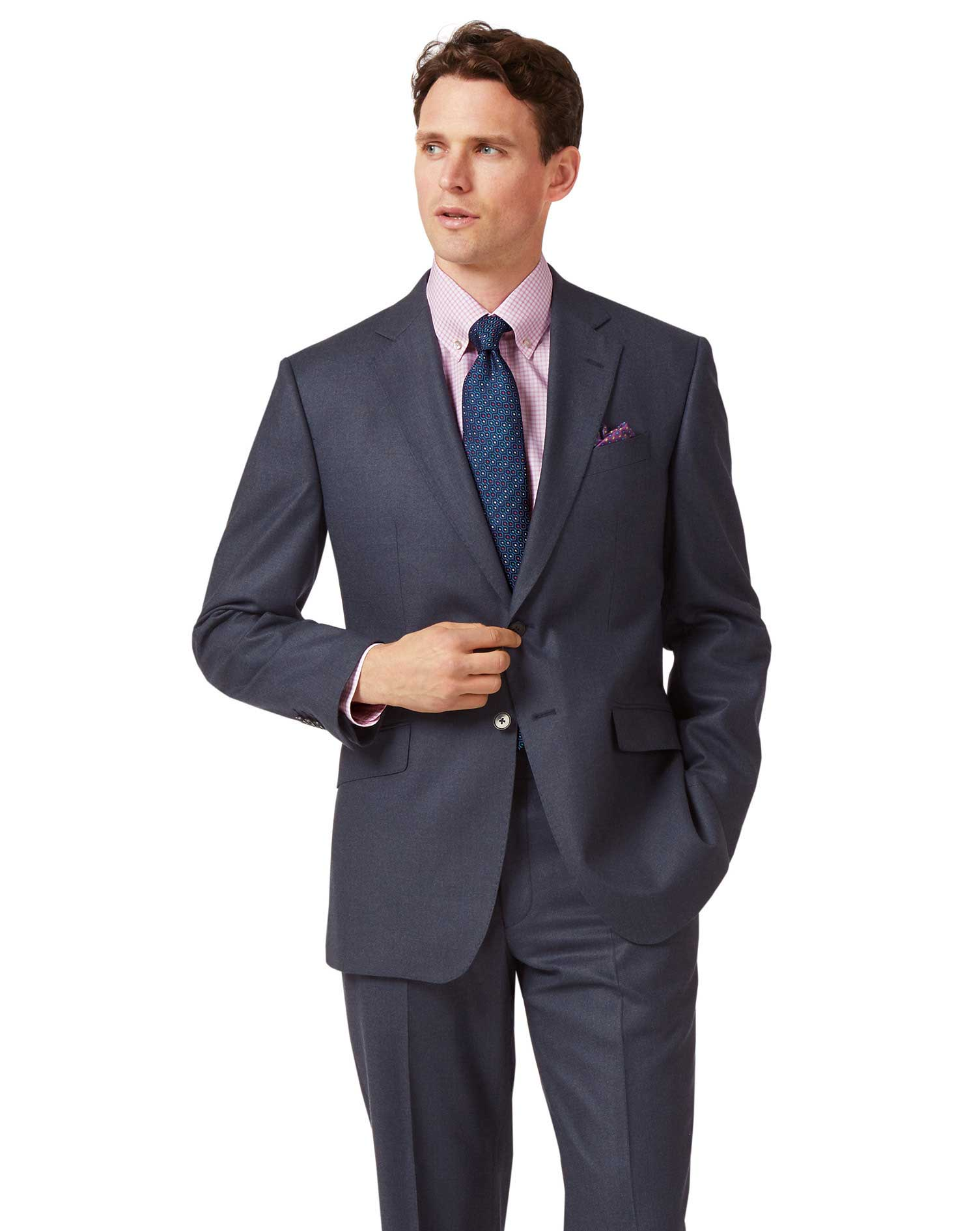 Airforce Blue Classic Fit Flannel Business Suit Wool Jacket Size 40 Long by Charles Tyrwhitt