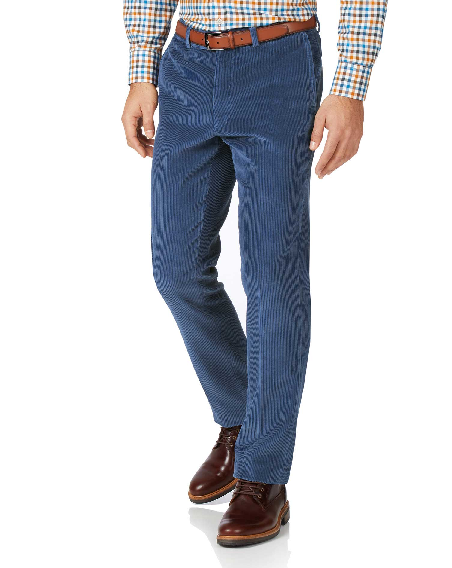 Airforce Blue Classic Fit Jumbo Corduroy Trousers Size W32 L32 by Charles Tyrwhitt