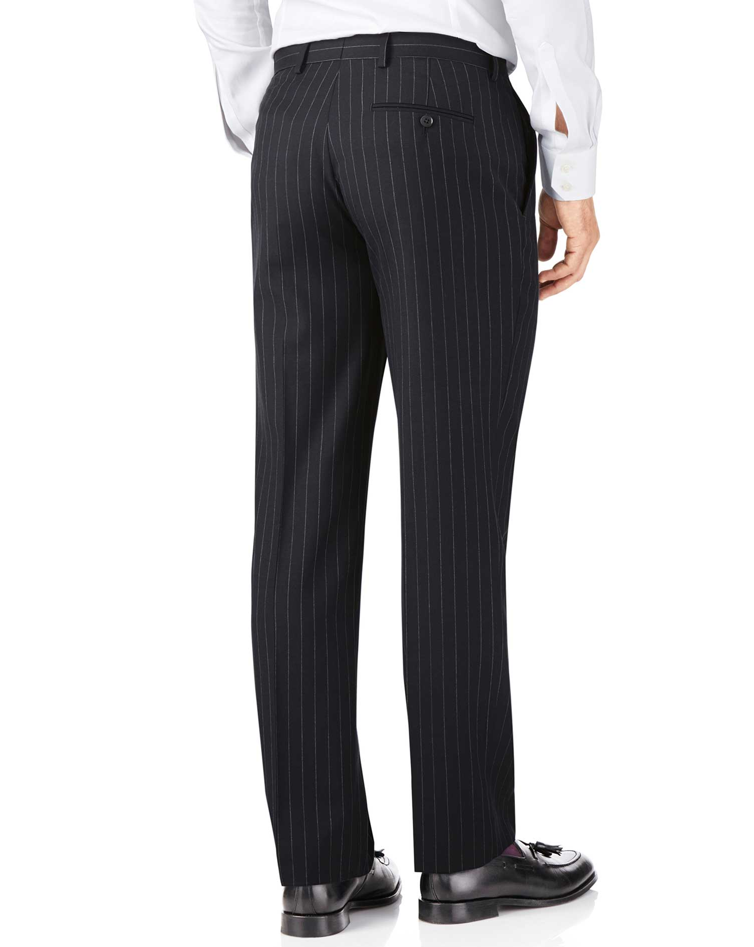 Navy stripe classic fit twill business suit trousers