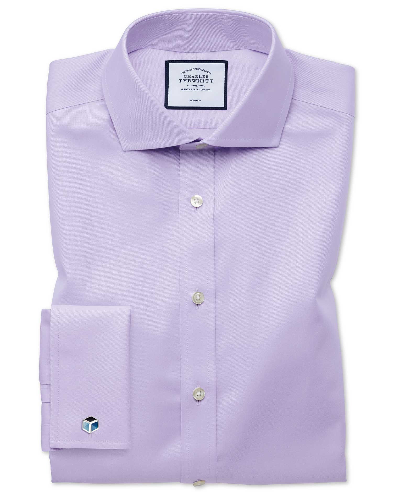 Extra Slim Fit Non-Iron Twill Lilac Cotton Formal Shirt Double Cuff Size 16.5/35 by Charles Tyrwhitt