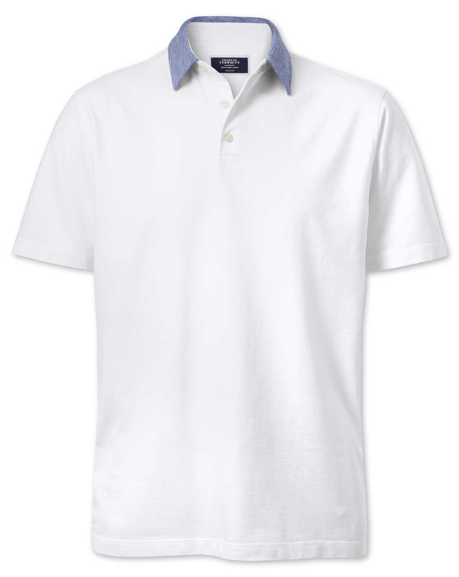 White Cotton Linen Polo Charles Tyrwhitt