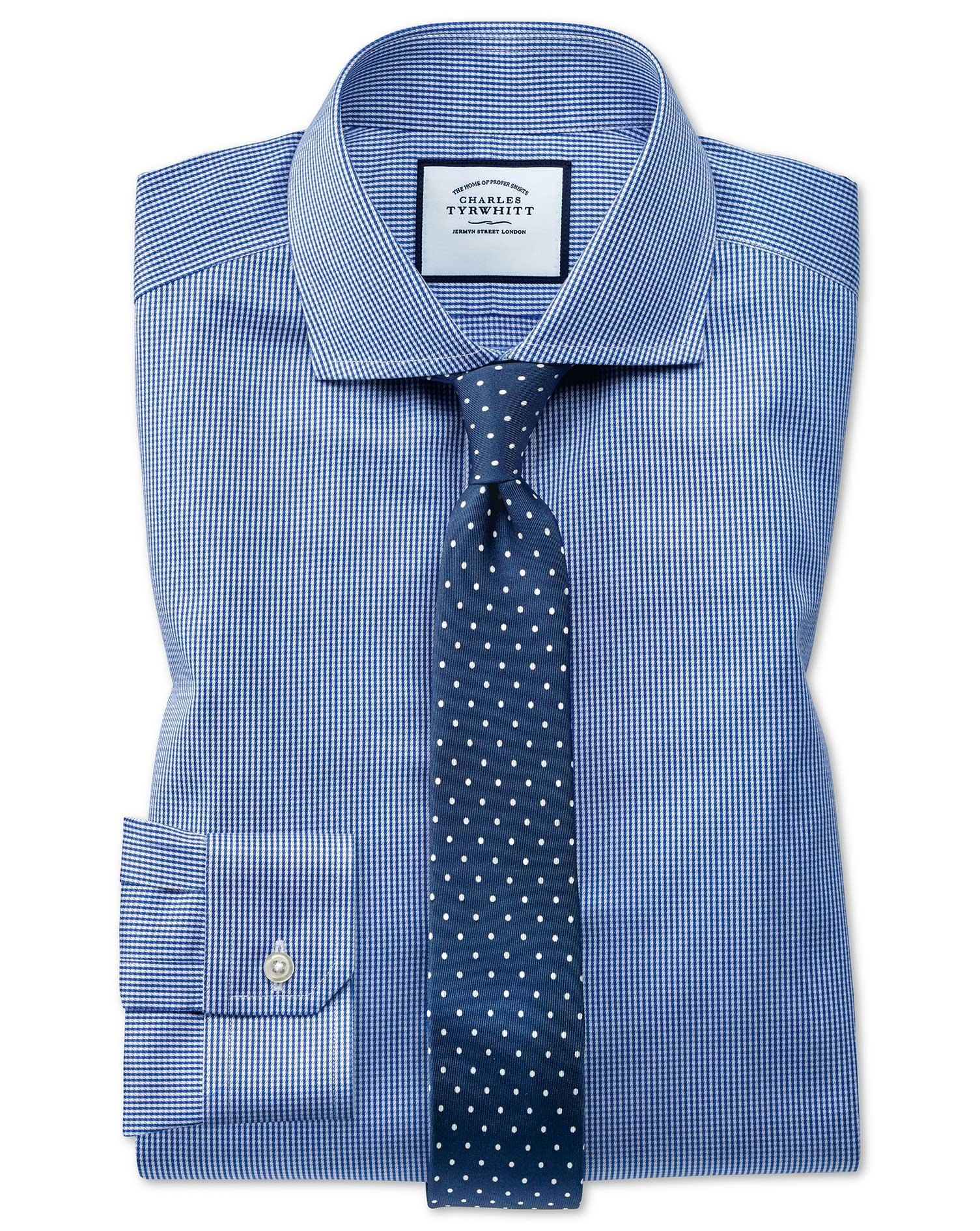 Super Slim Fit Cutaway Non-Iron Puppytooth Royal Blue Cotton Formal Shirt Single Cuff Size 15.5/36 b
