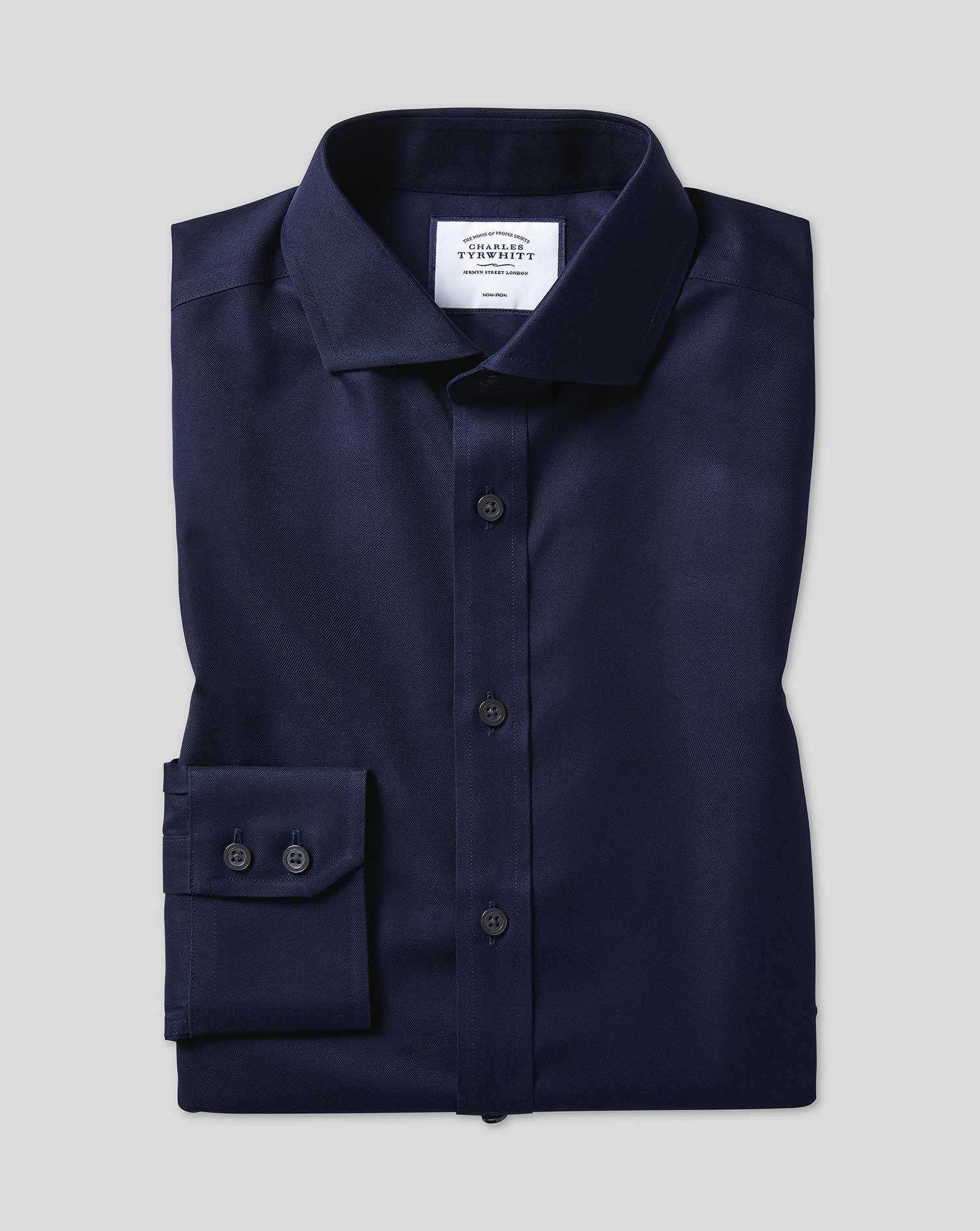 Cotton Extra Slim Fit Navy Non-Iron Cutaway Twill Shirt
