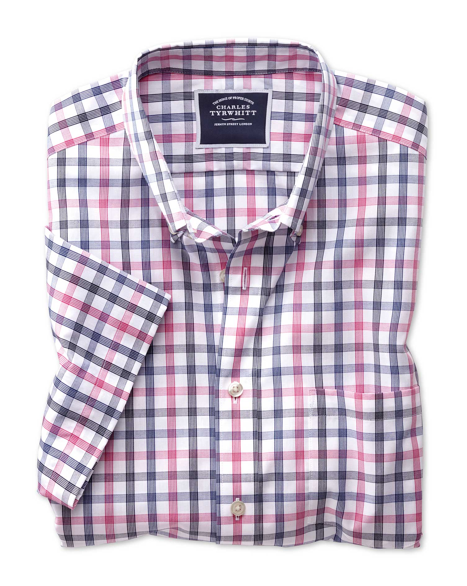 classic fit non-iron pink large check short sleeve cotton casual shirt single cuff size xxxl by charles tyrwhitt