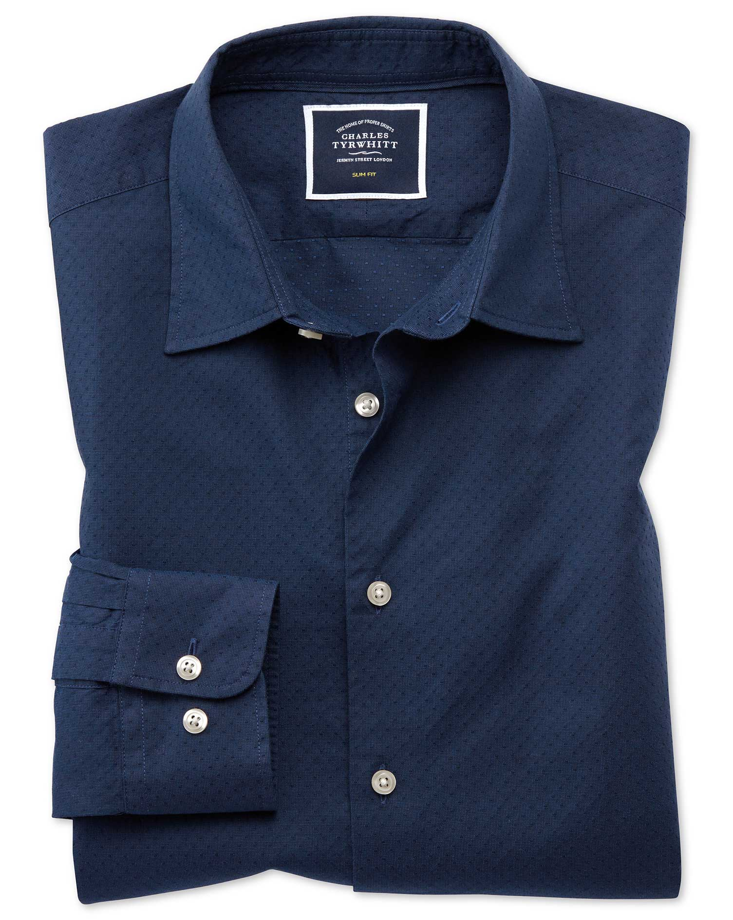 Slim Fit Dark Blue Spot Soft Texture Cotton Shirt Single Cuff Size Large by Charles Tyrwhitt