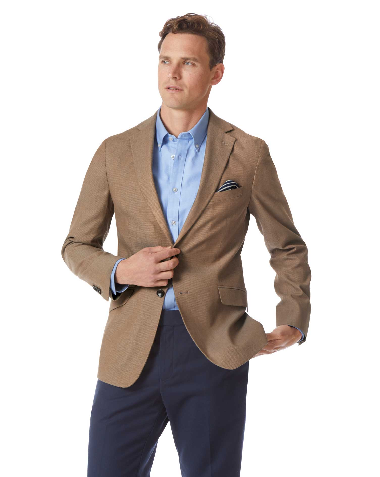 Slim Fit Tan Textured Stretch Cotton Jacket Size 42 Short by Charles Tyrwhitt