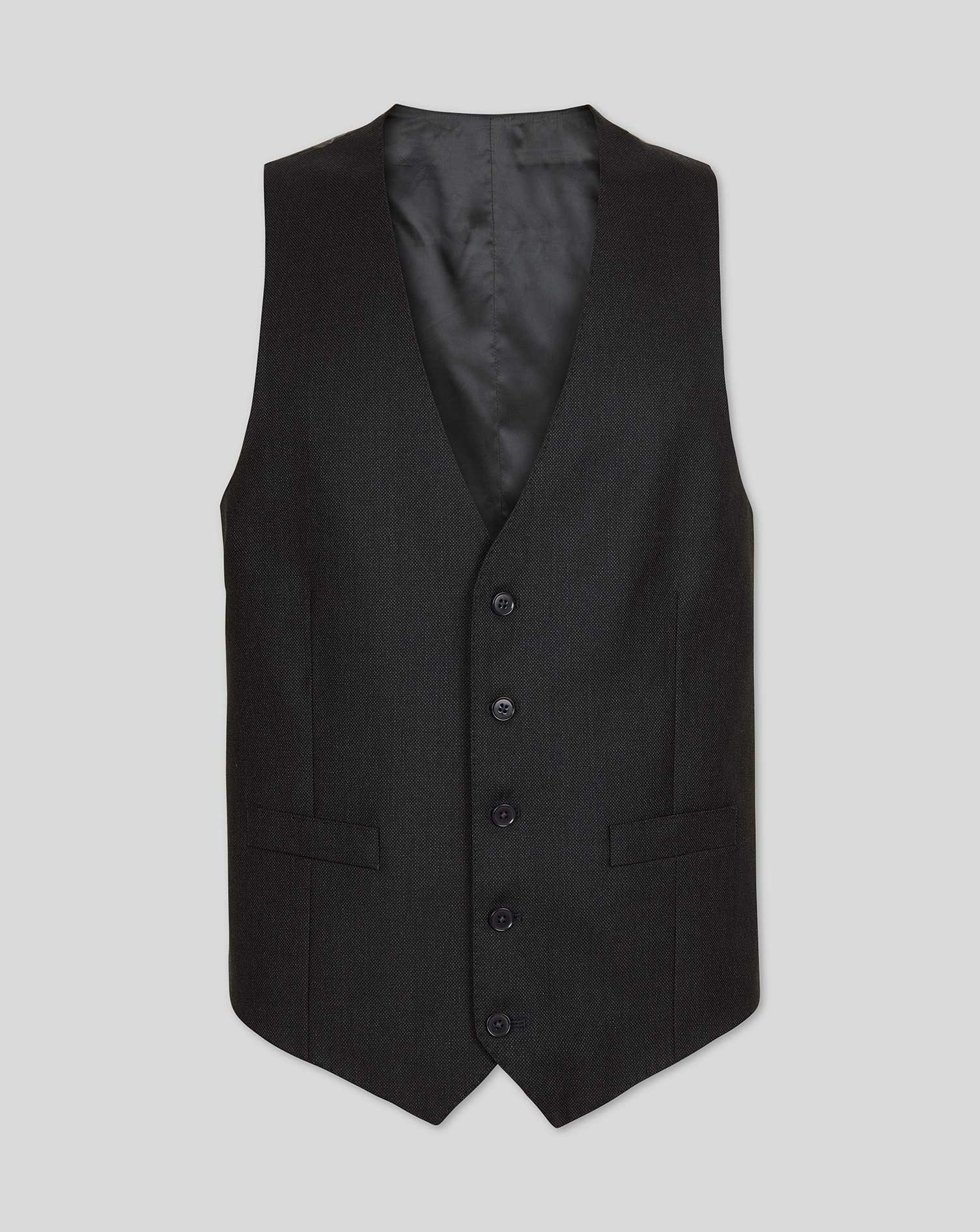 Image of Charles Tyrwhitt Birdseye Travel Suit Wool Waistcoat - Charcoal Size w36 by Charles Tyrwhitt