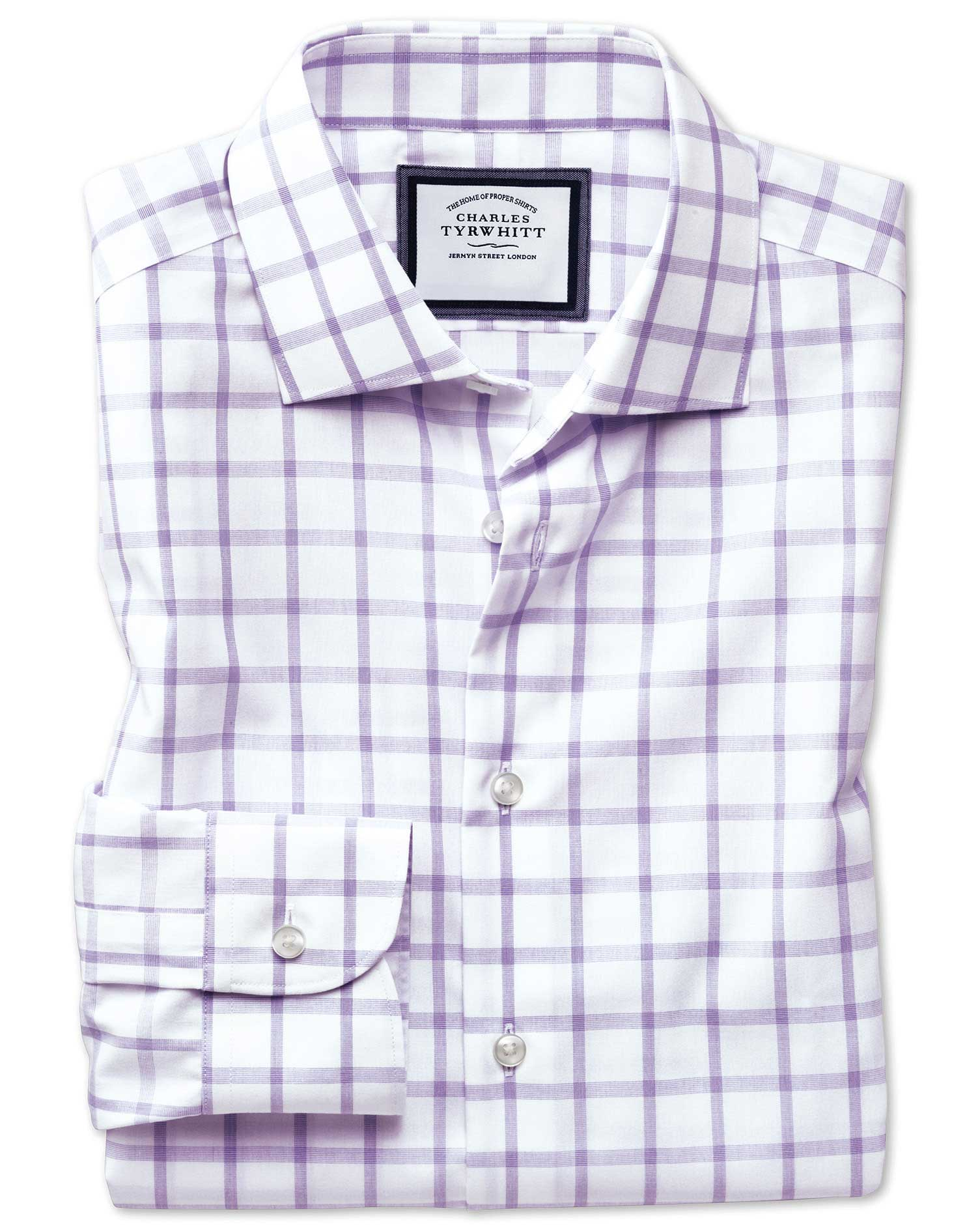Slim Fit Semi-Cutaway Non-Iron Business Casual Purple Check Cotton Formal Shirt Single Cuff Size 16/