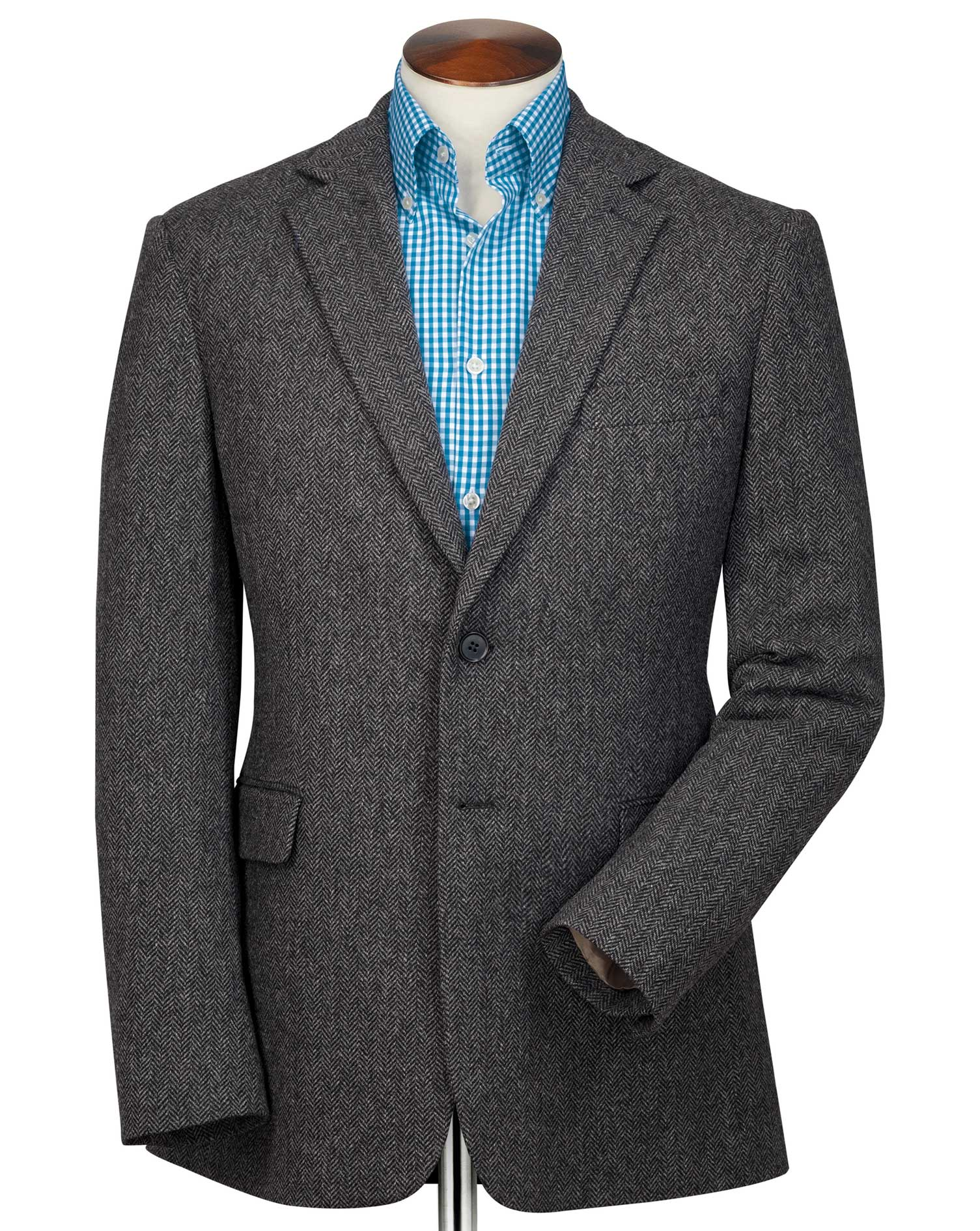 Slim Fit Charcoal Herringbone Wool Wool Jacket Size 42 Regular by Charles Tyrwhitt