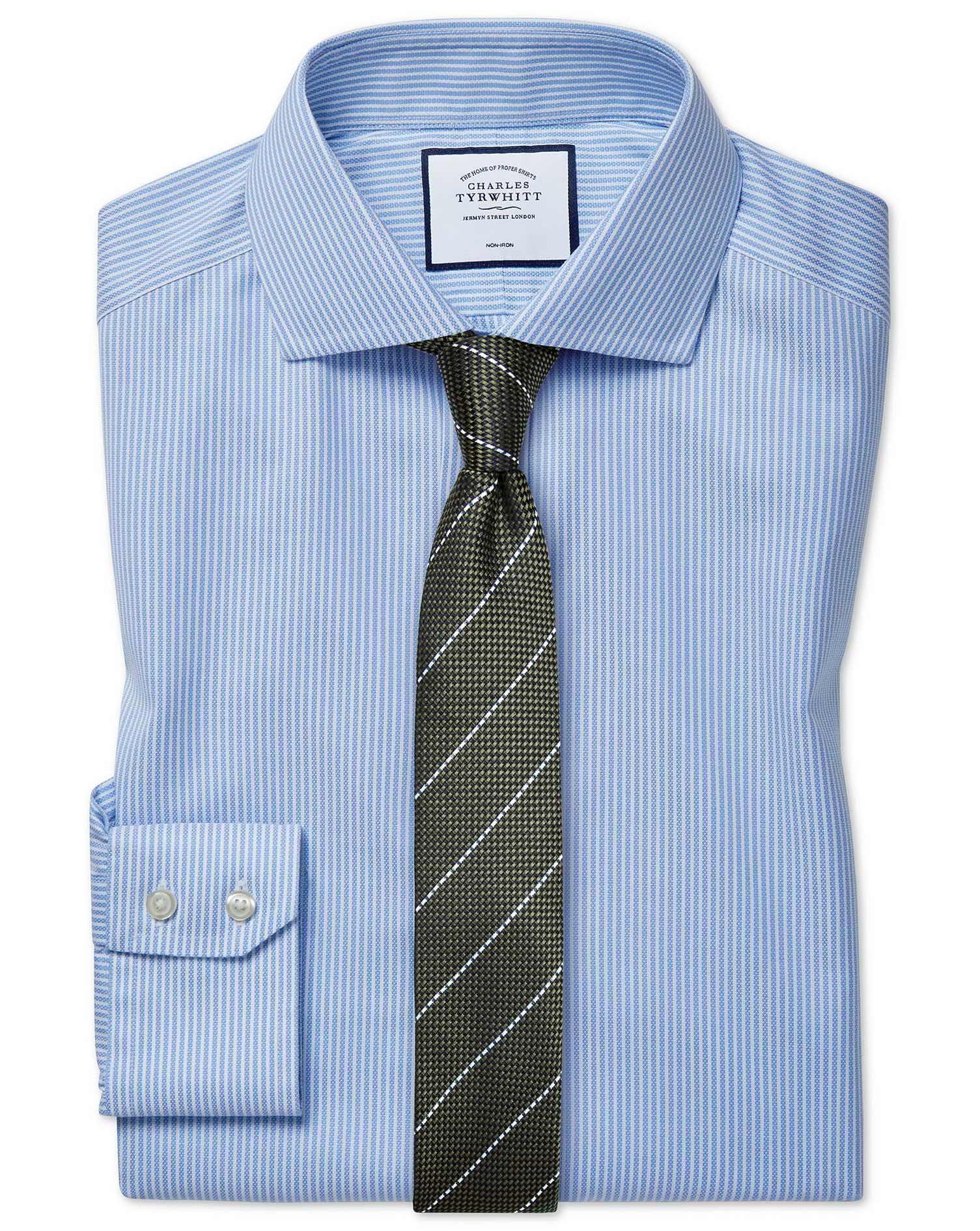 Slim Fit Cutaway Non-Iron Cotton Stretch Oxford Sky Blue Stripe Shirt