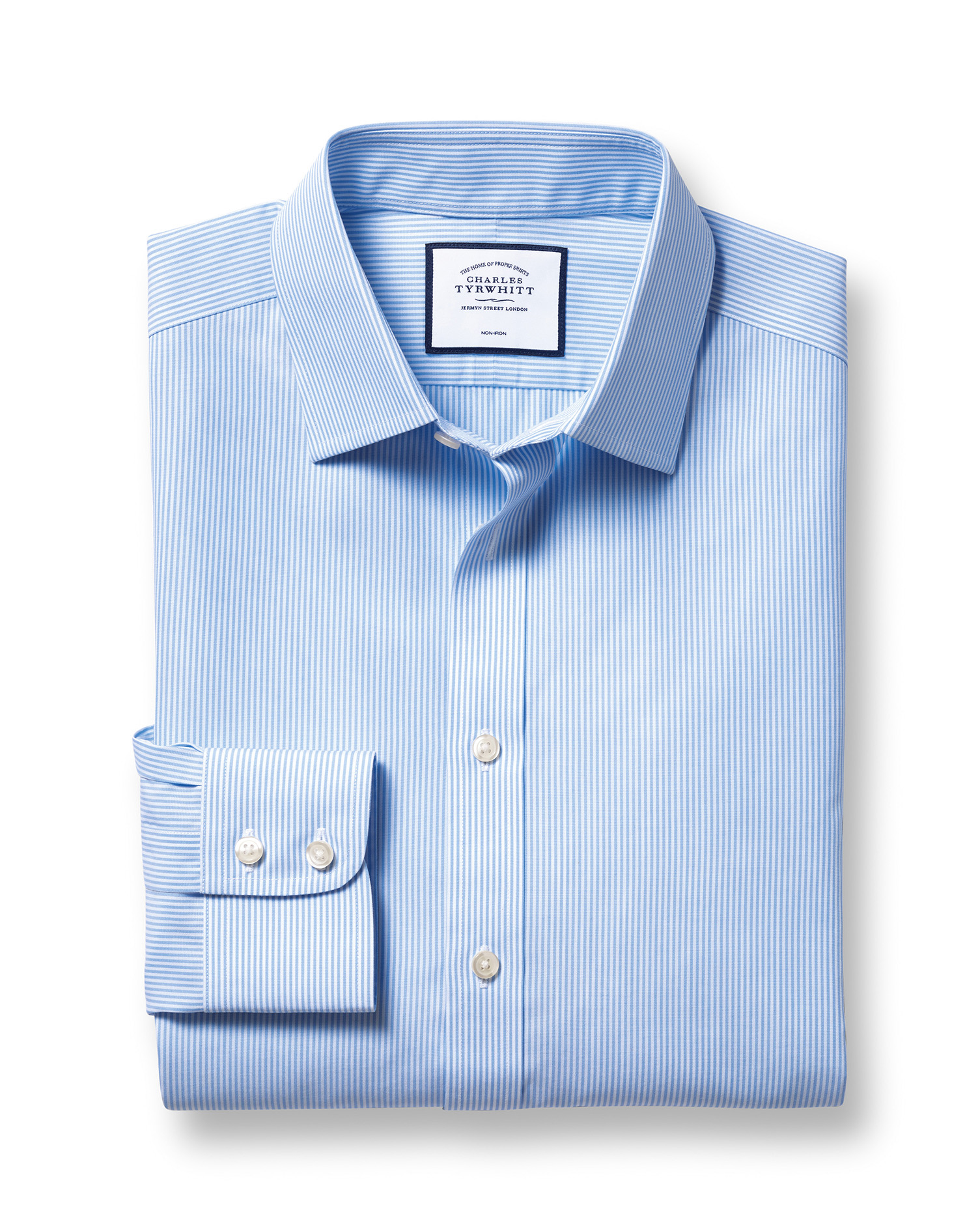 Classic Fit Non-Iron Sky Blue Bengal Stripe Cotton Formal Shirt Single Cuff Size 15/33 by Charles Ty