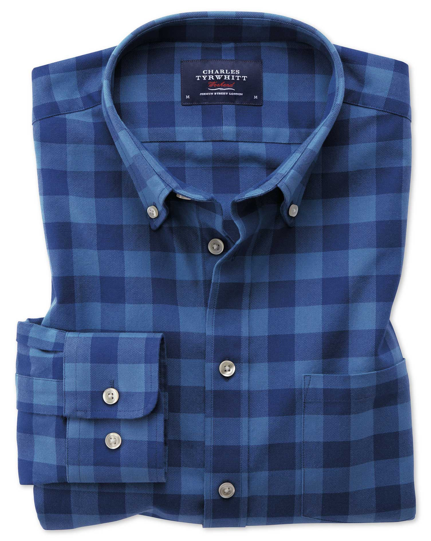 Extra Slim Fit Button-Down Washed Oxford Blue Check Cotton Shirt Single Cuff Size Small by Charles T