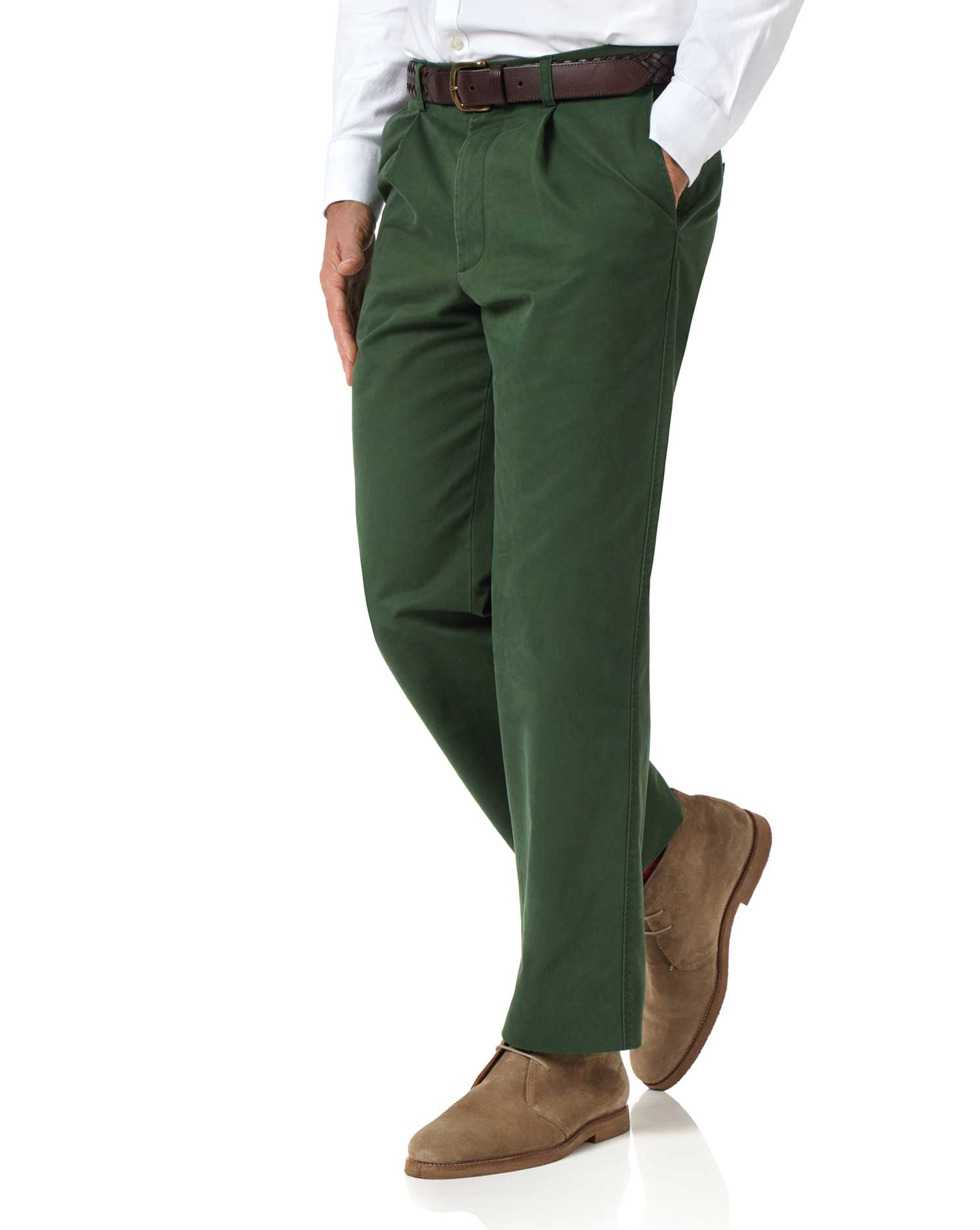 Green Classic Fit Single Pleat Washed Cotton Chino Trousers Size W40 L32 by Charles Tyrwhitt