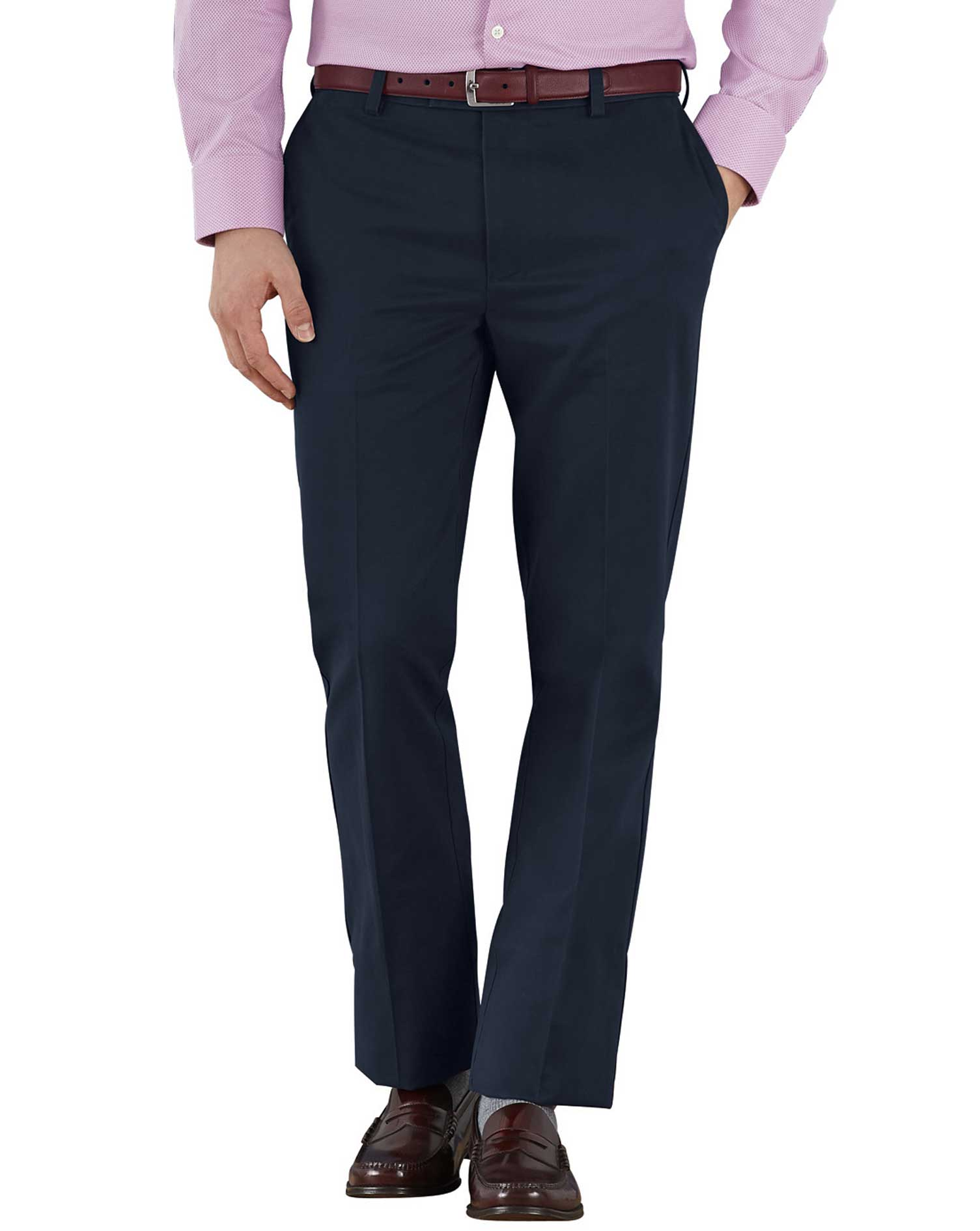 Navy Slim Fit Flat Front Non-Iron Cotton Chino Trousers Size W34 L34 by Charles Tyrwhitt