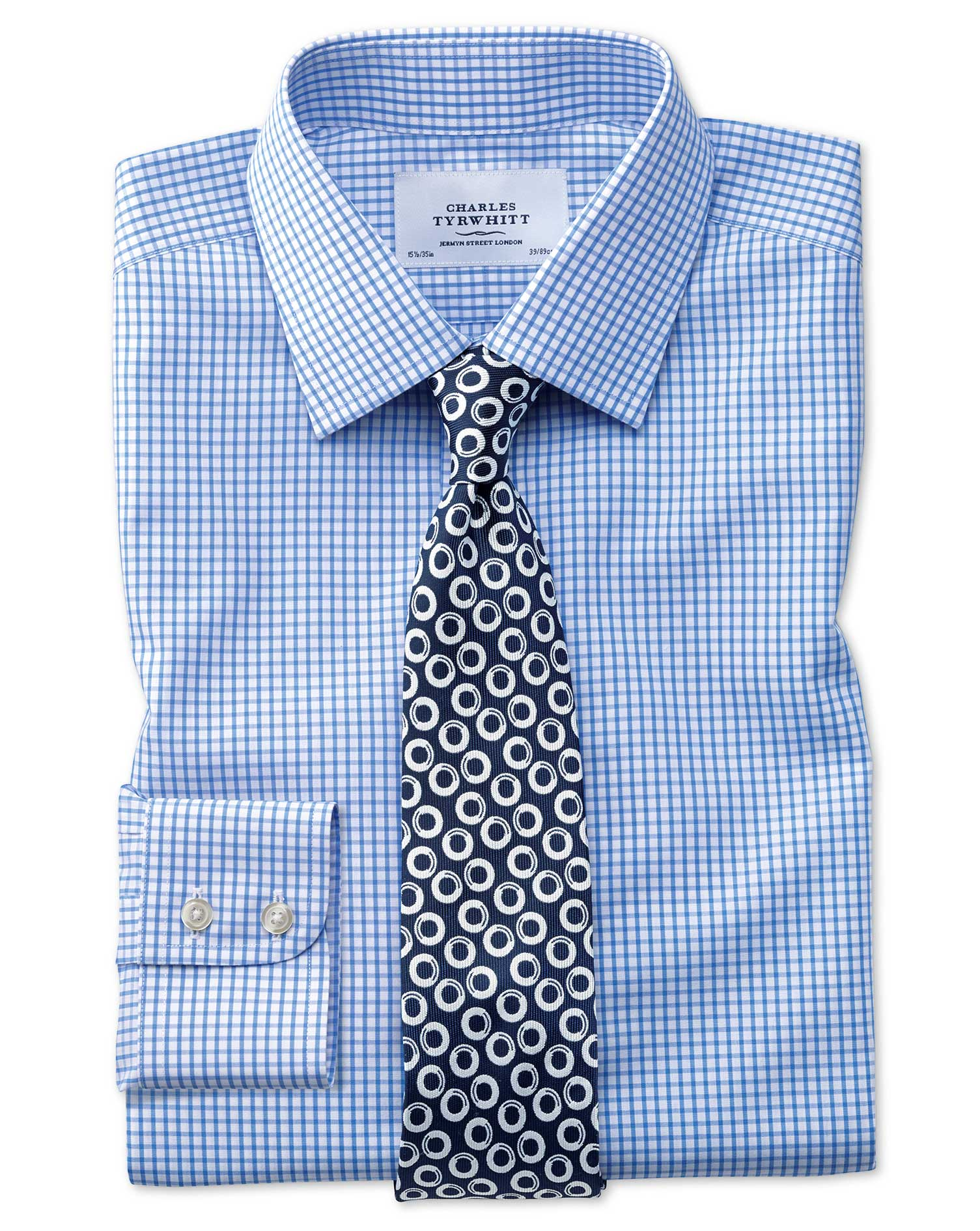 Slim Fit Non-Iron Grid Check Sky Blue Cotton Formal Shirt Single Cuff Size 17/34 by Charles Tyrwhitt