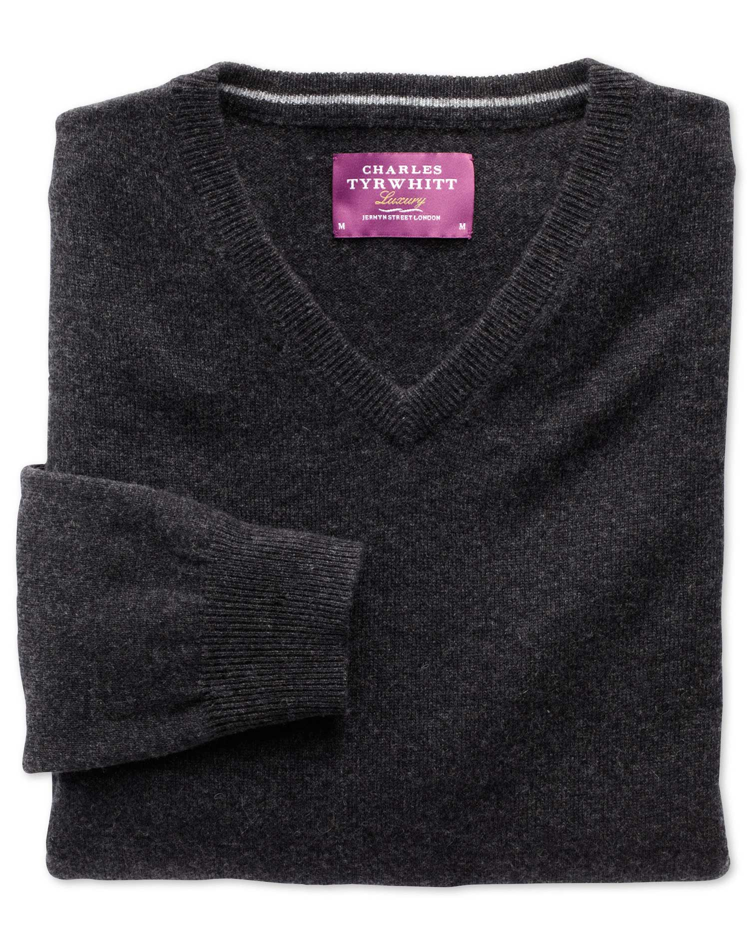 Charcoal Cashmere V-Neck Jumper Size XXXL by Charles Tyrwhitt