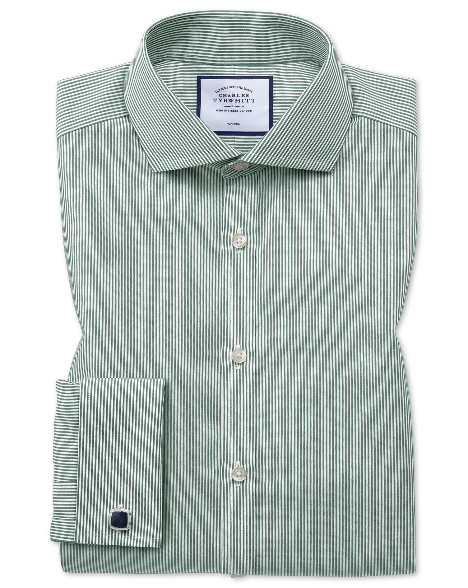 Extra Slim Fit Non-Iron Cutaway Collar Olive Bengal Stripe Cotton Formal Shirt Single Cuff Size 15/3