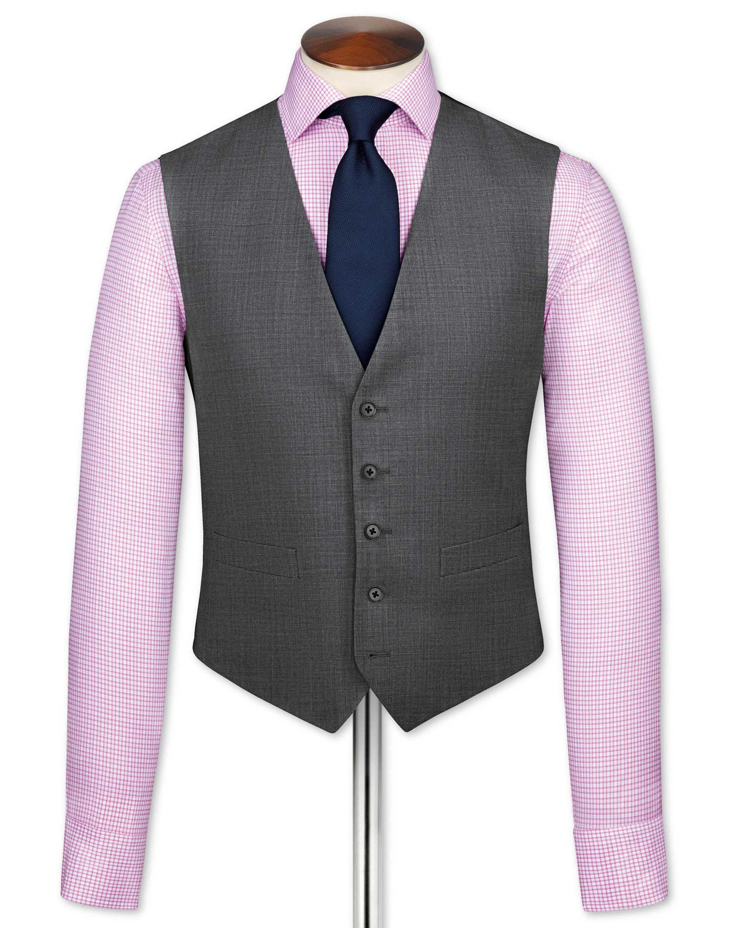 Grey End-On-End Business Suit Wool Waistcoat Size w38 by Charles Tyrwhitt