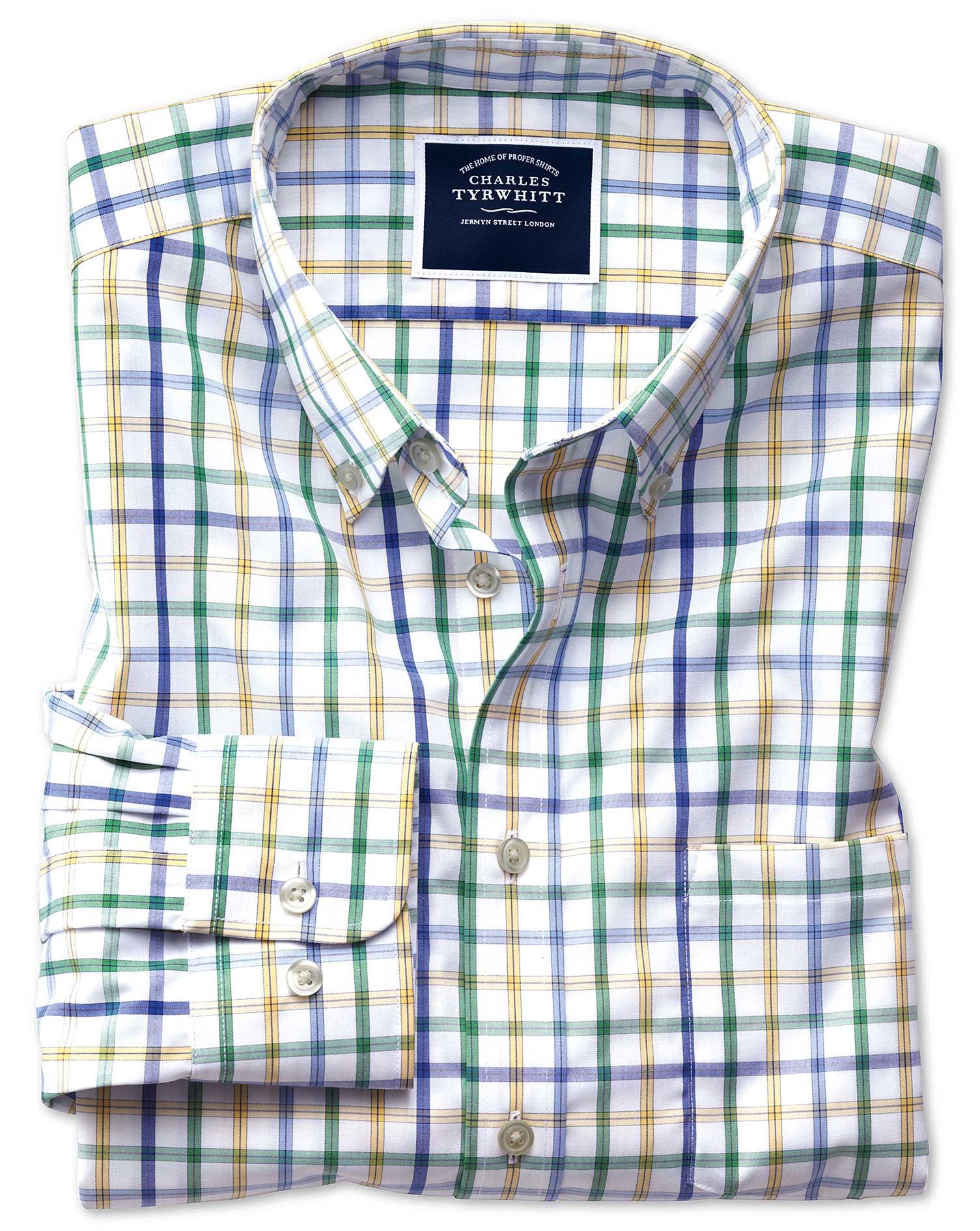 Slim Fit Button-Down Non-Iron Poplin Green Multi Check Cotton Shirt Single Cuff Size XS by Charles T
