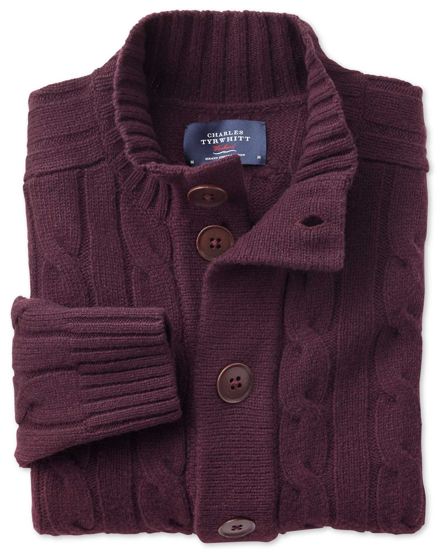 Wine Lambswool Cable Cardigan Size XXL by Charles Tyrwhitt